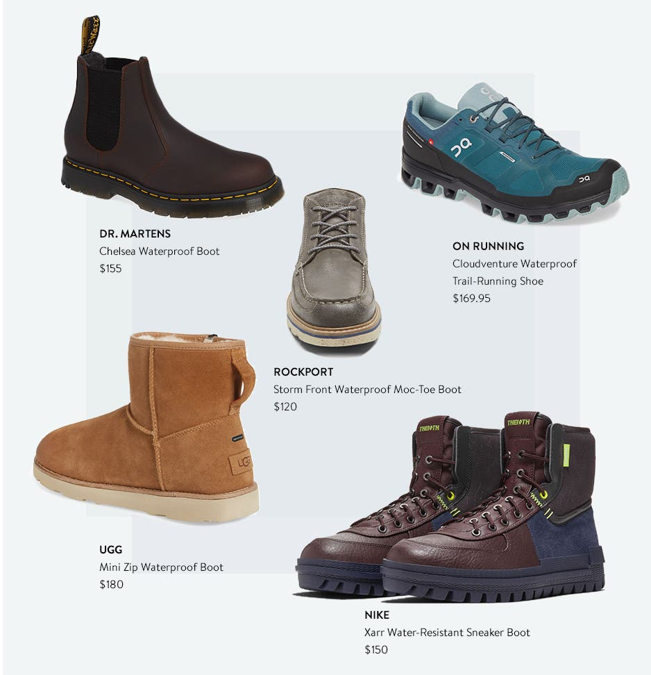 Waterproof footwear in rugged and stylish options.
