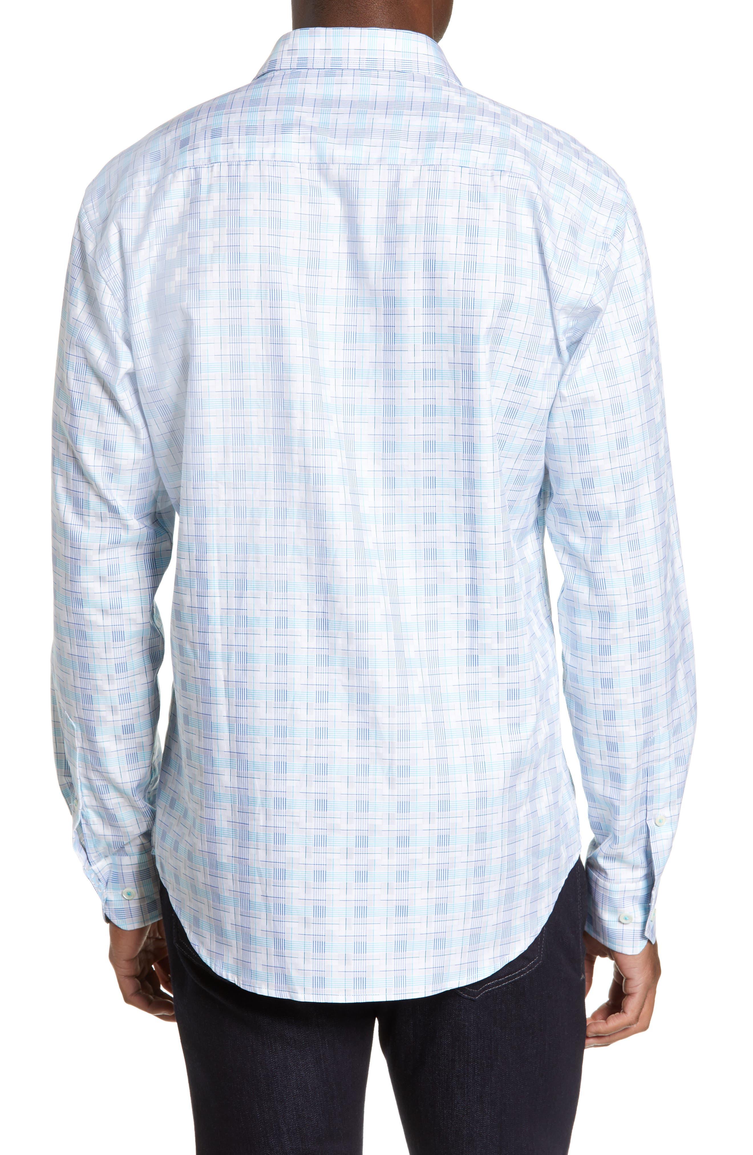 BUGATCHI,                             Shaped Fit Sport Shirt,                             Alternate thumbnail 3, color,                             SNOW