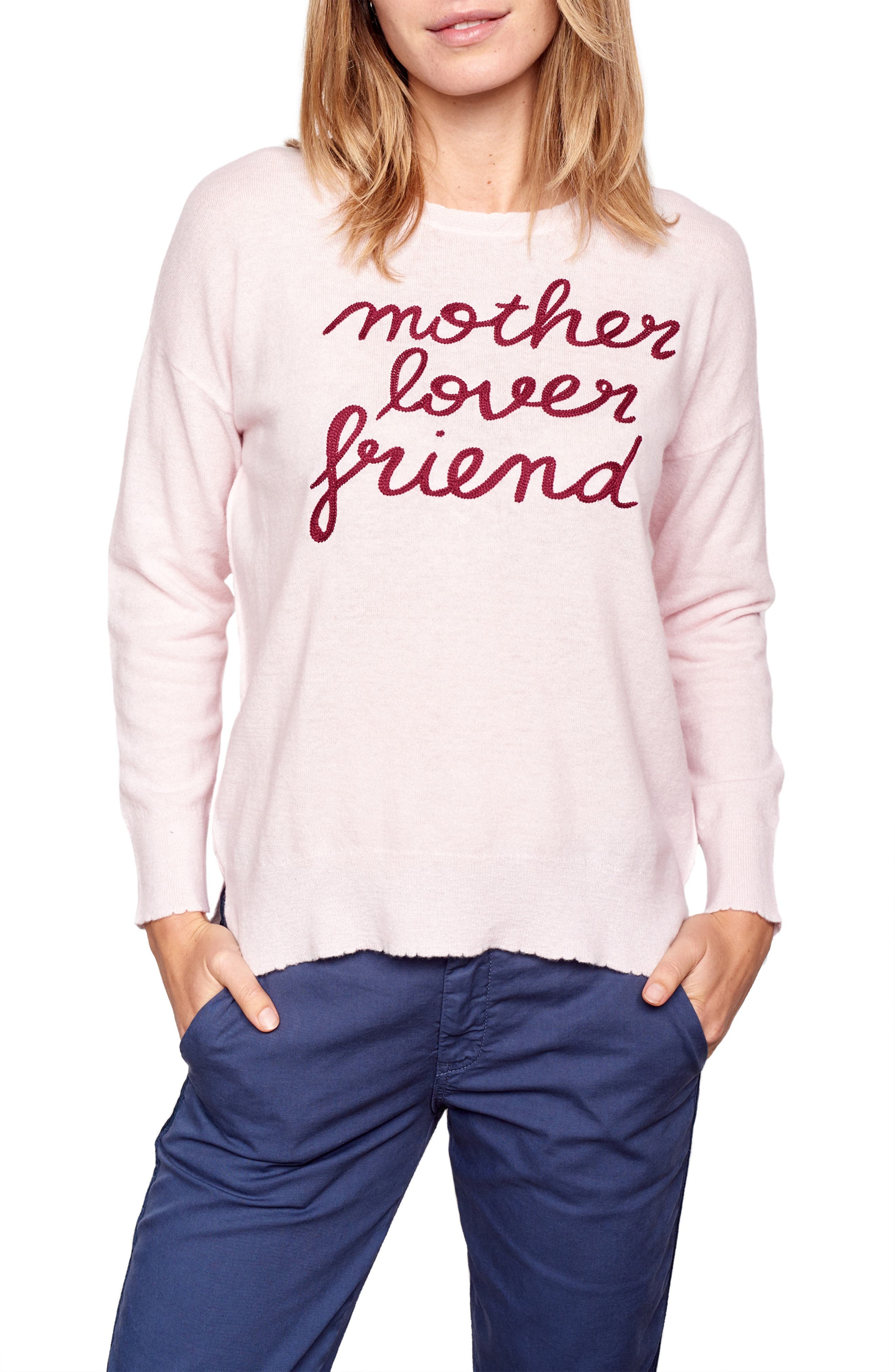 Crewneck Wool & Cashmere Sweater,                         Main,                         color, PETAL