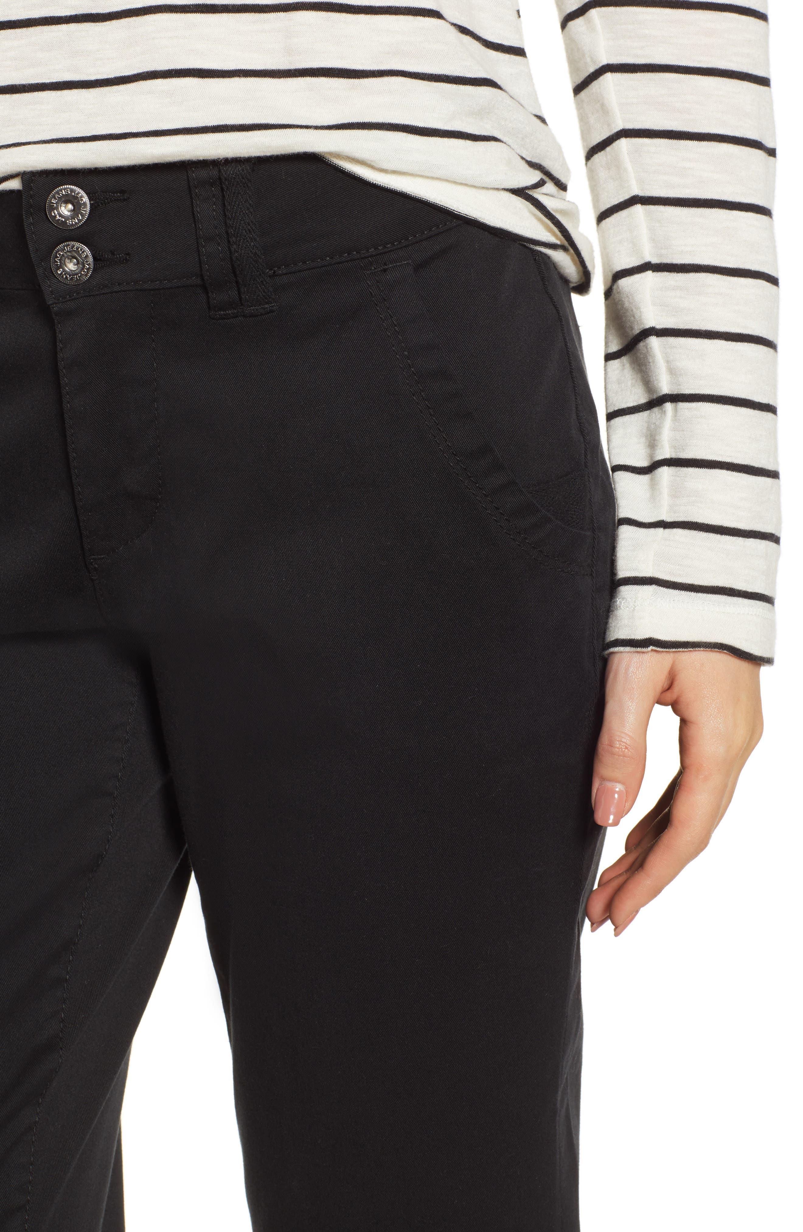JAG JEANS,                             Flora Crop Pants,                             Alternate thumbnail 4, color,                             BLACK