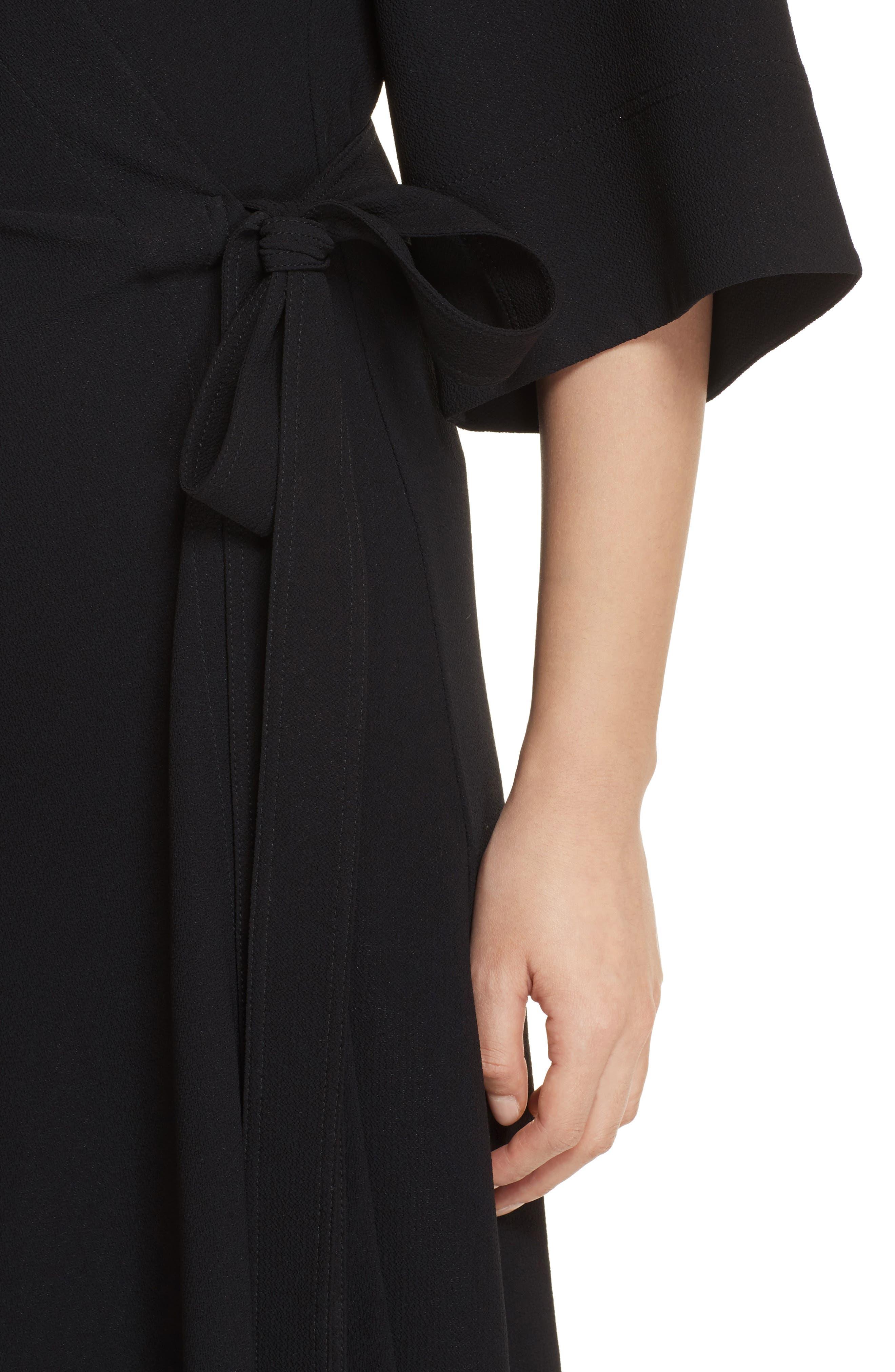 THEORY,                             Kimono Crepe Wrap Dress,                             Alternate thumbnail 4, color,                             001