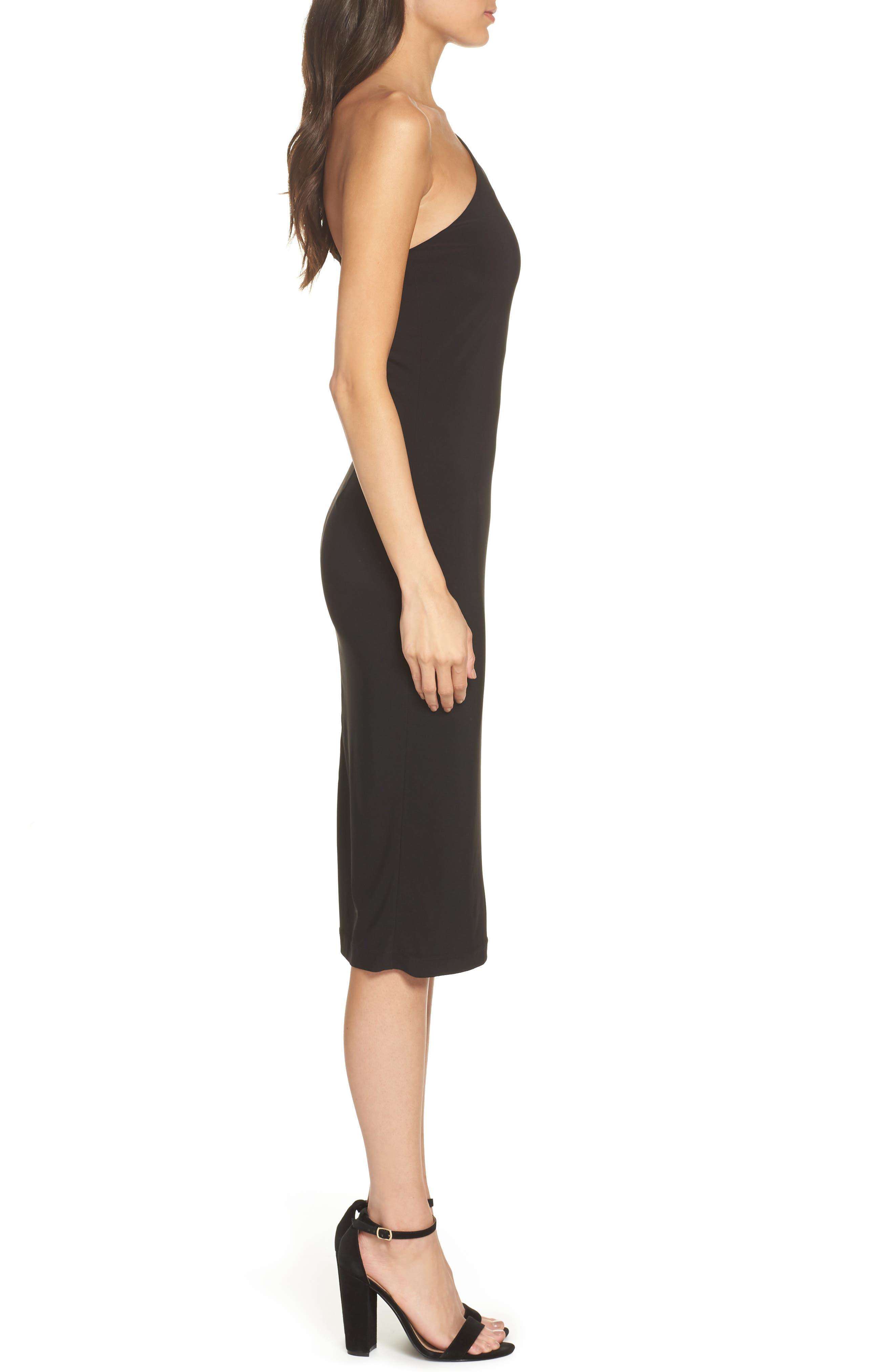 One-Shoulder Dress,                             Alternate thumbnail 3, color,                             BLACK