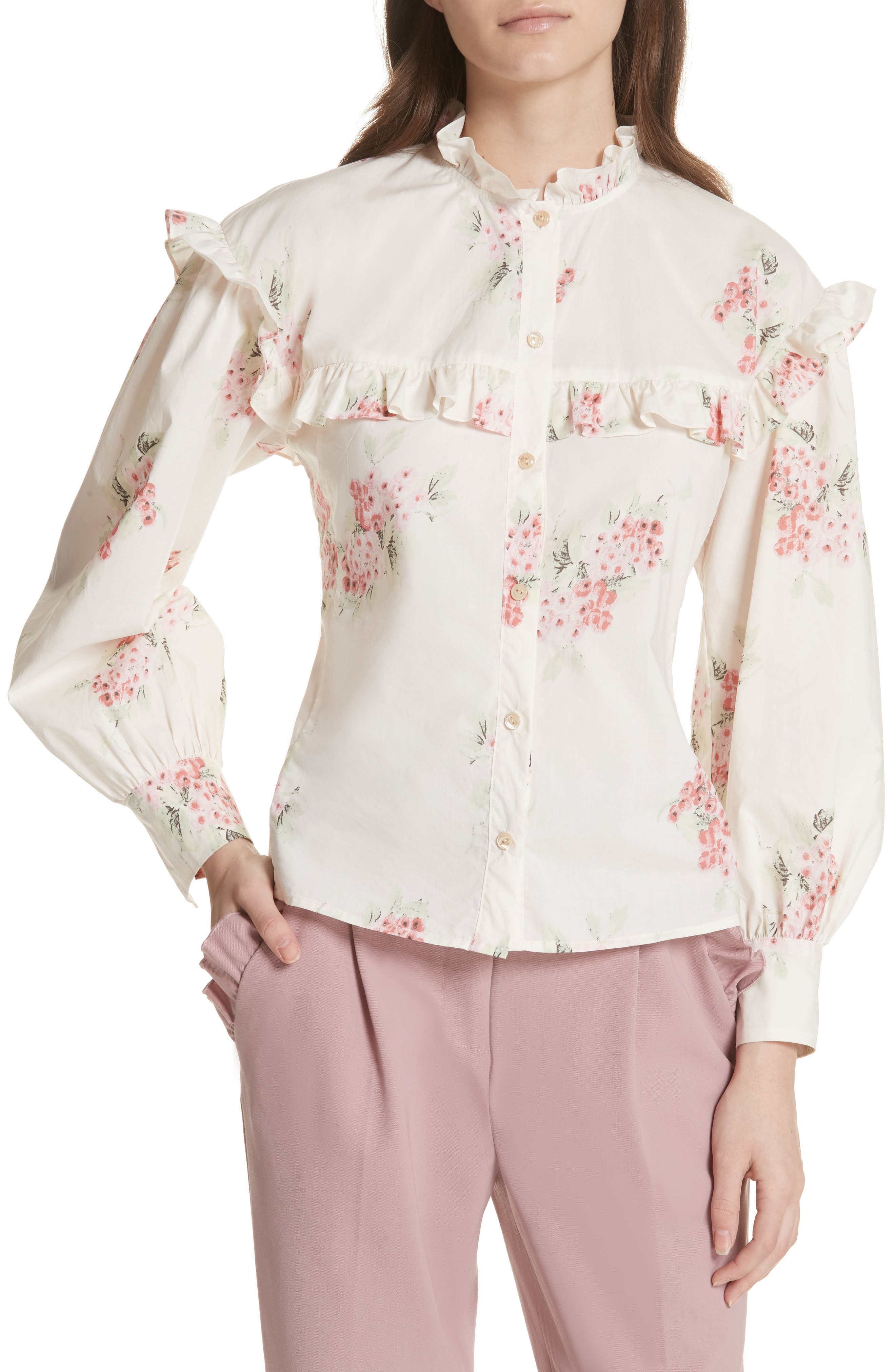 Maia Ruffled Floral Top,                         Main,                         color, 901