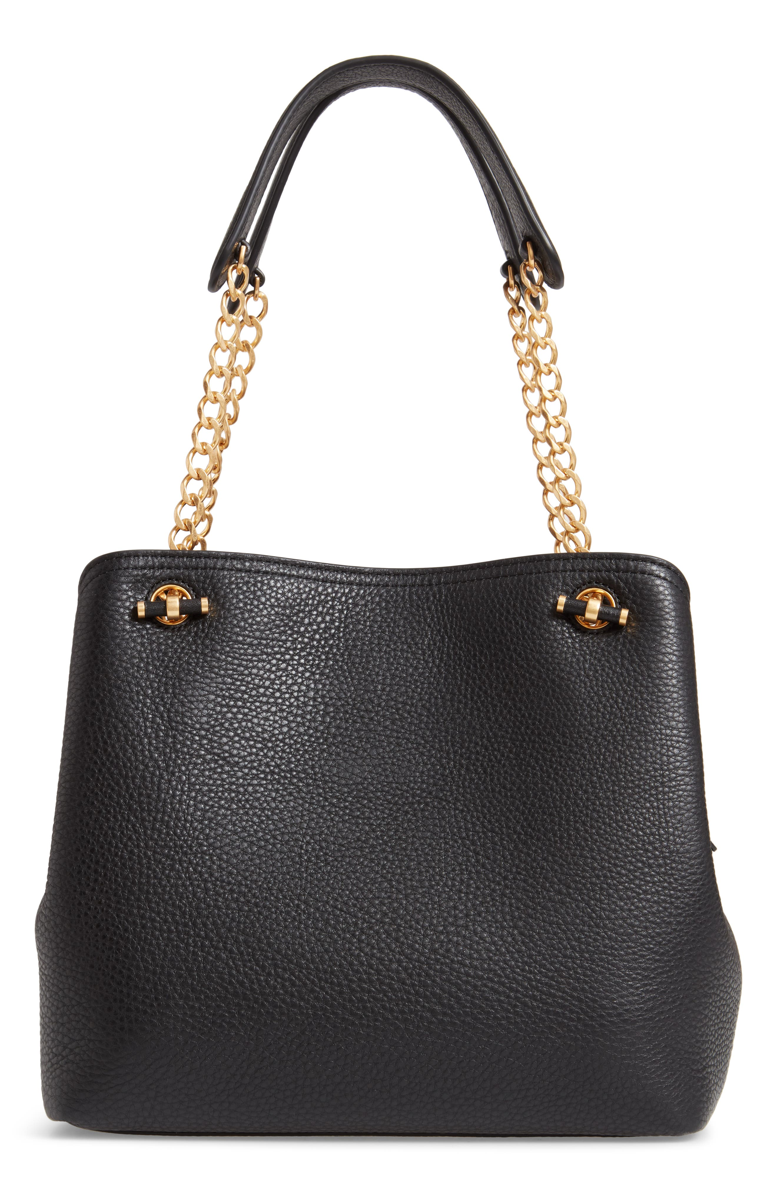 Small Chelsea Leather Tote,                             Alternate thumbnail 3, color,                             BLACK