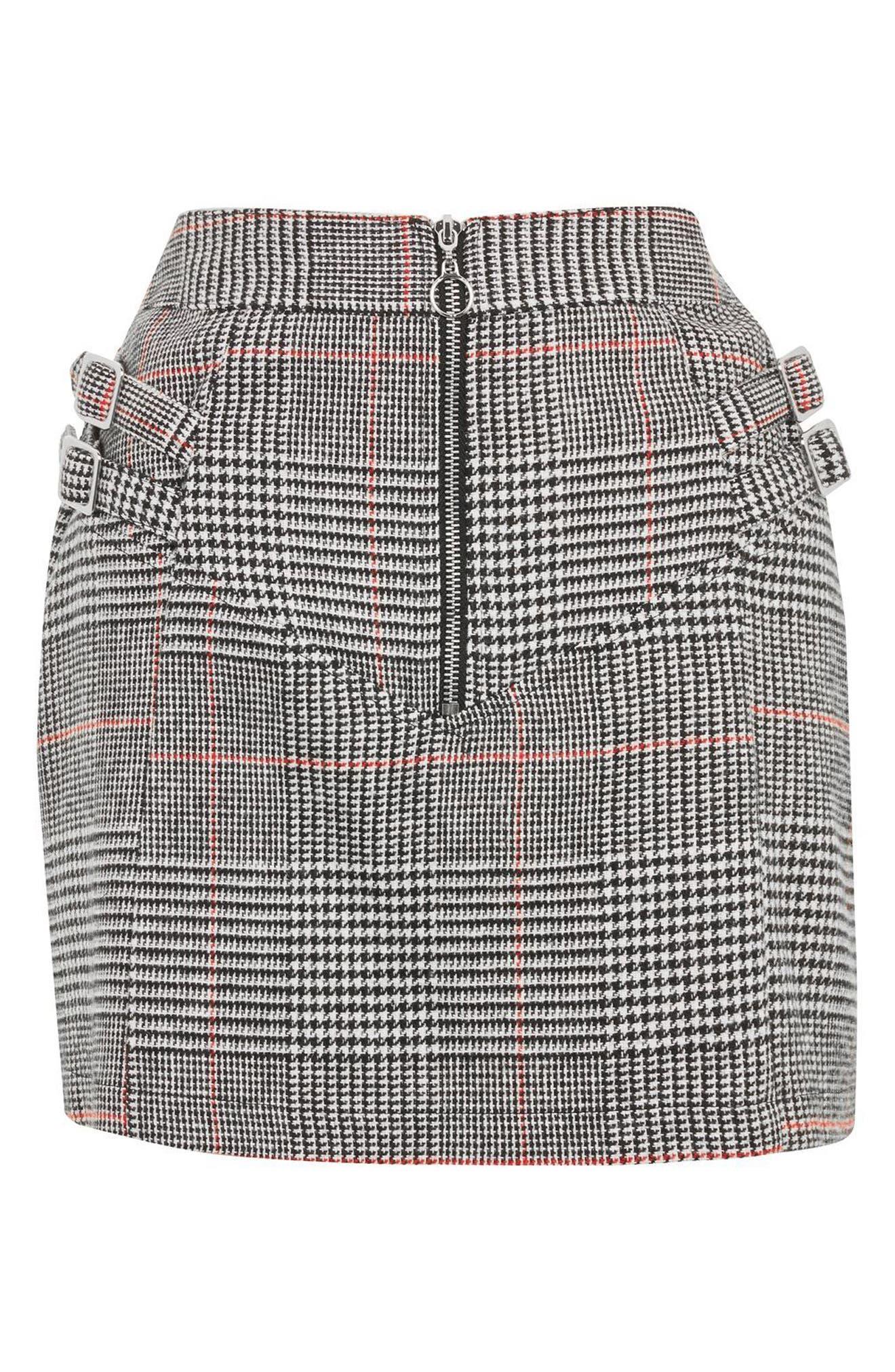 Side Buckle Check Miniskirt,                             Alternate thumbnail 3, color,                             001