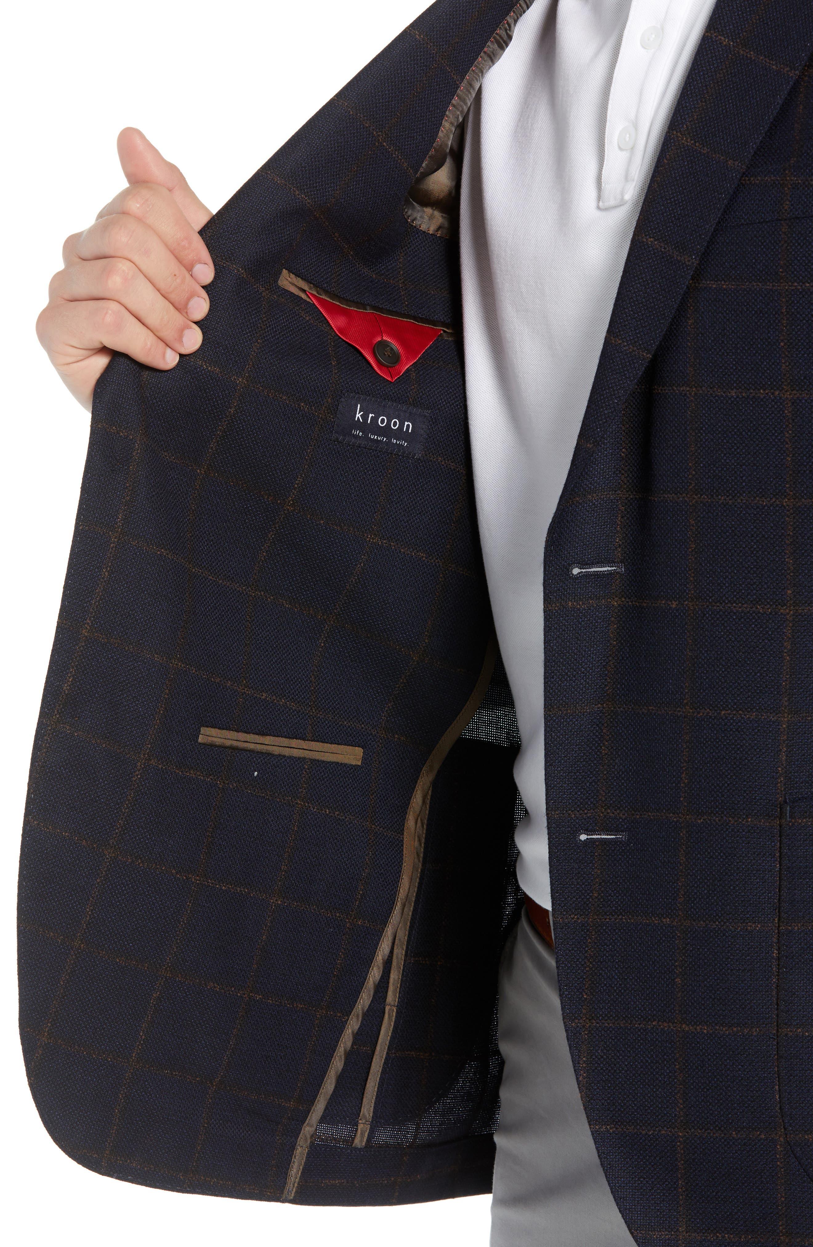 Edge 2 Classic Fit Windowpane Wool Sport Coat,                             Alternate thumbnail 4, color,                             410