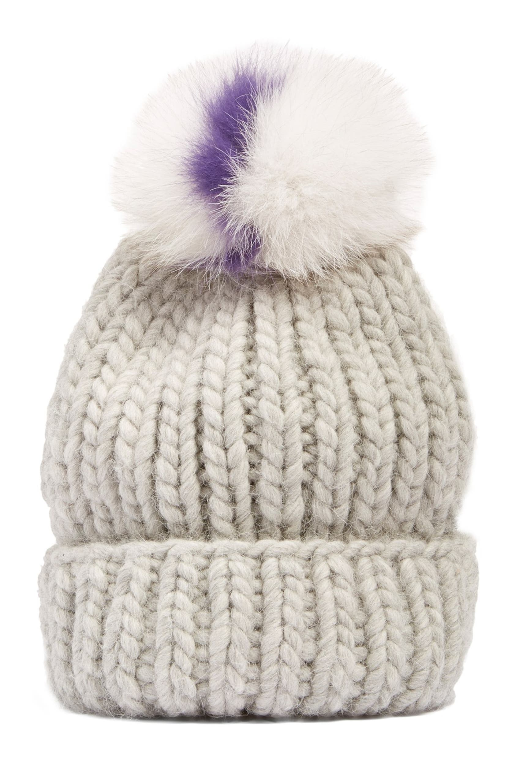 0c5a308e6a6 Eugenia Kim  Rain  Beanie with Genuine Fox Fur Pompom