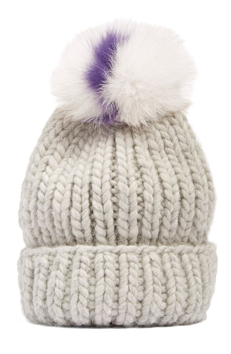 8167b014e4c Eugenia Kim  Rain  Beanie with Genuine Fox Fur Pompom