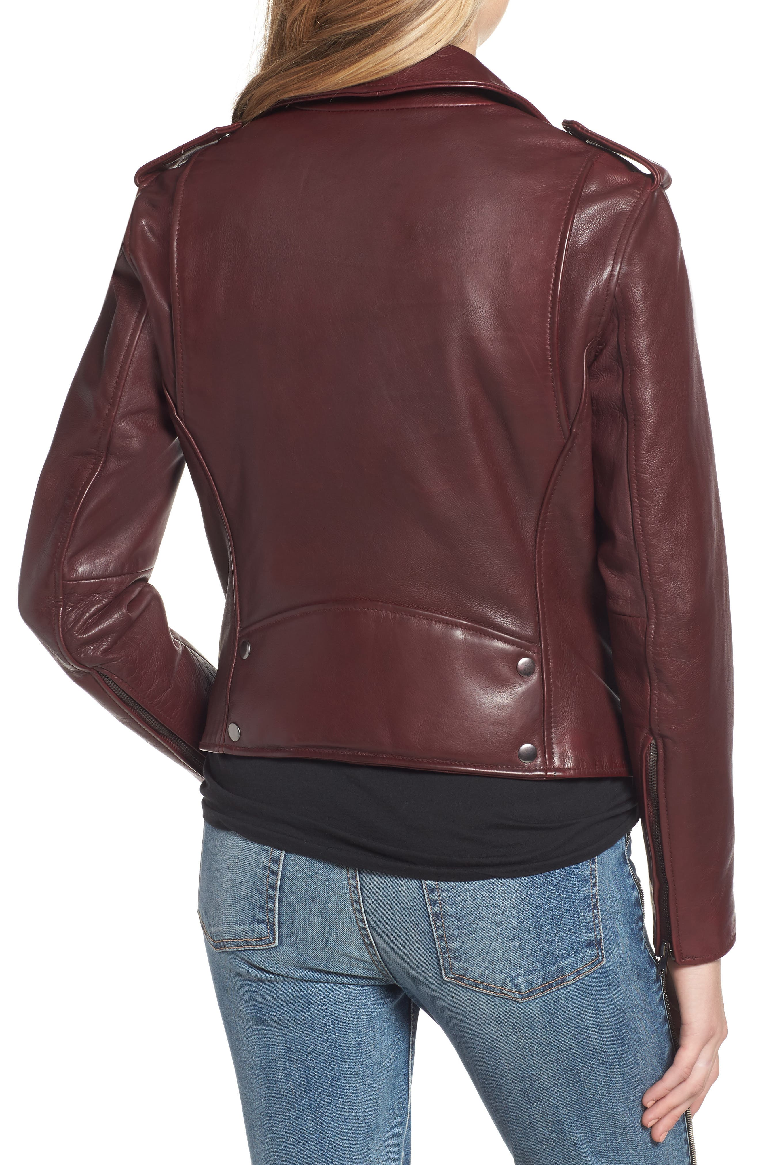 Leather Biker Jacket,                             Alternate thumbnail 2, color,                             BLACKENED BORDEAUX