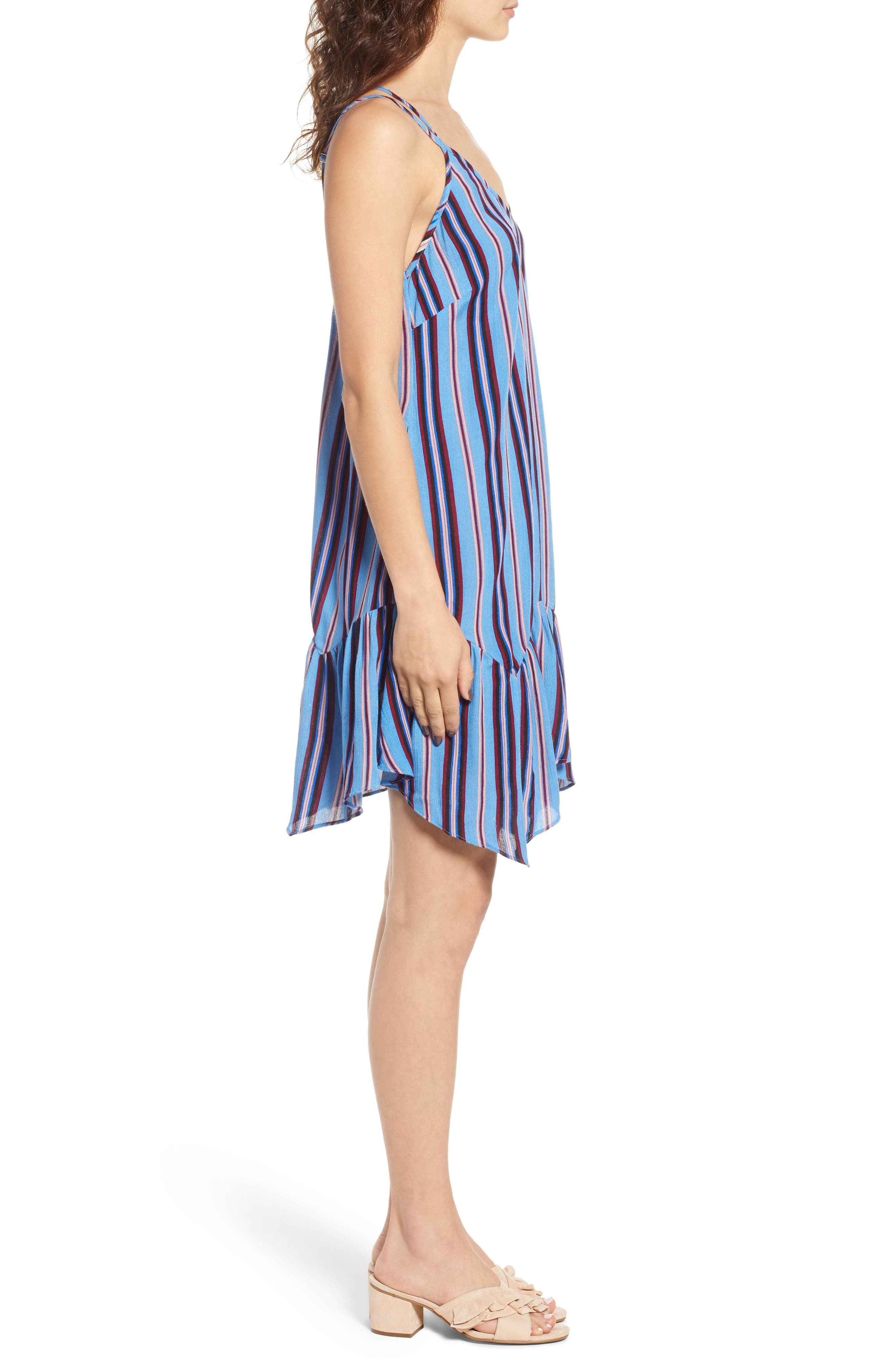 Selena Handkerchief Hem Slip Dress,                             Alternate thumbnail 3, color,                             500
