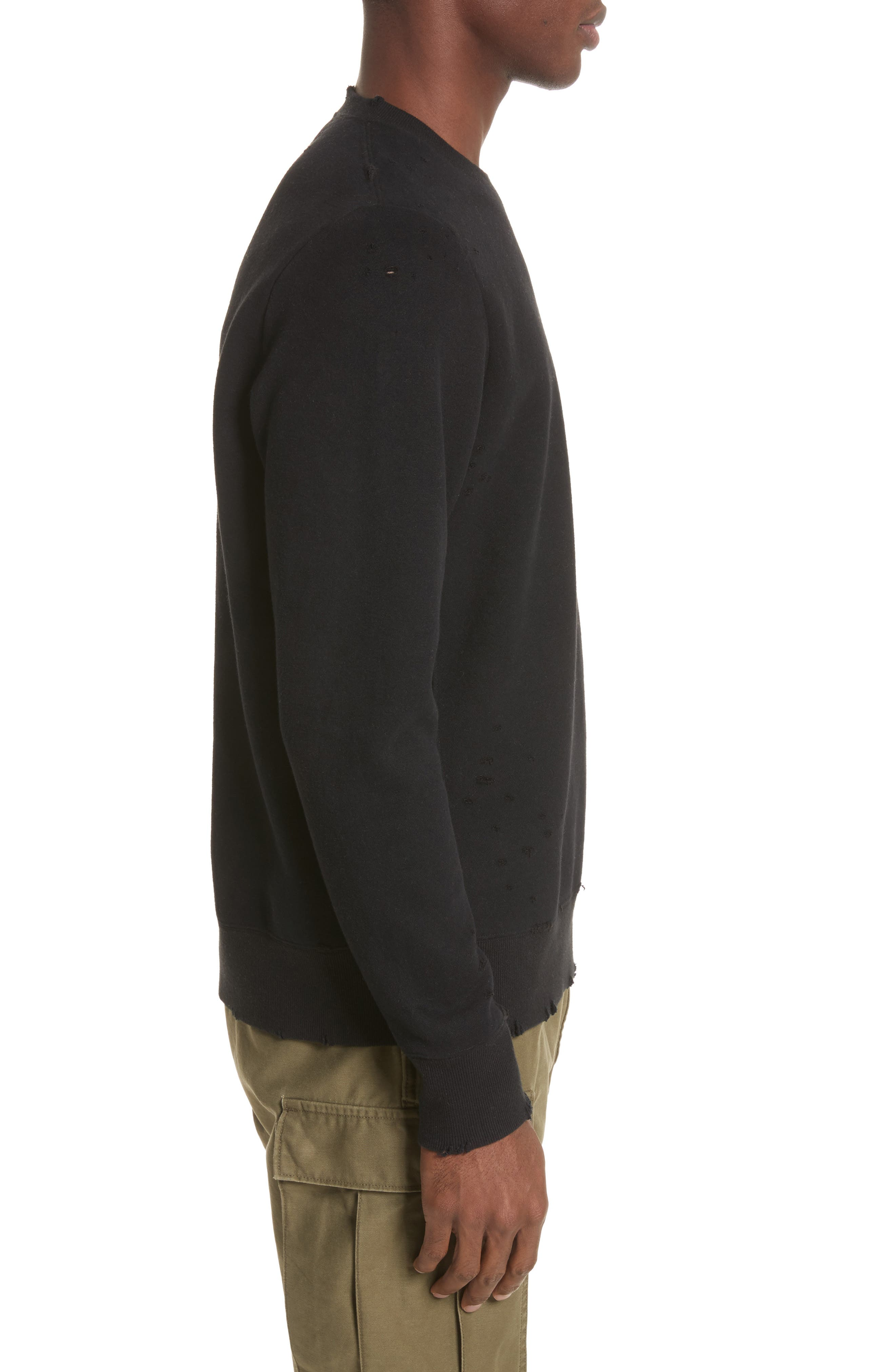 Distressed Crewneck Sweatshirt,                             Alternate thumbnail 3, color,                             001