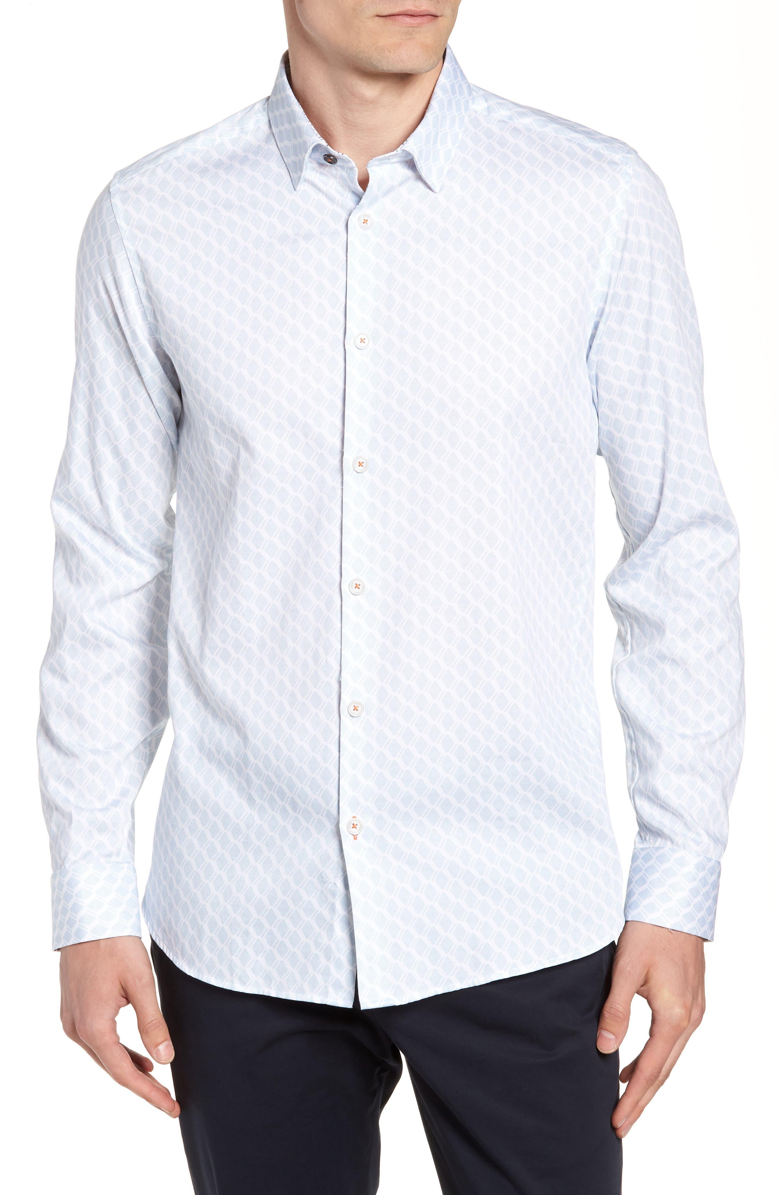 Pimlitt Geo Pattern Sport Shirt,                         Main,                         color, BLUE