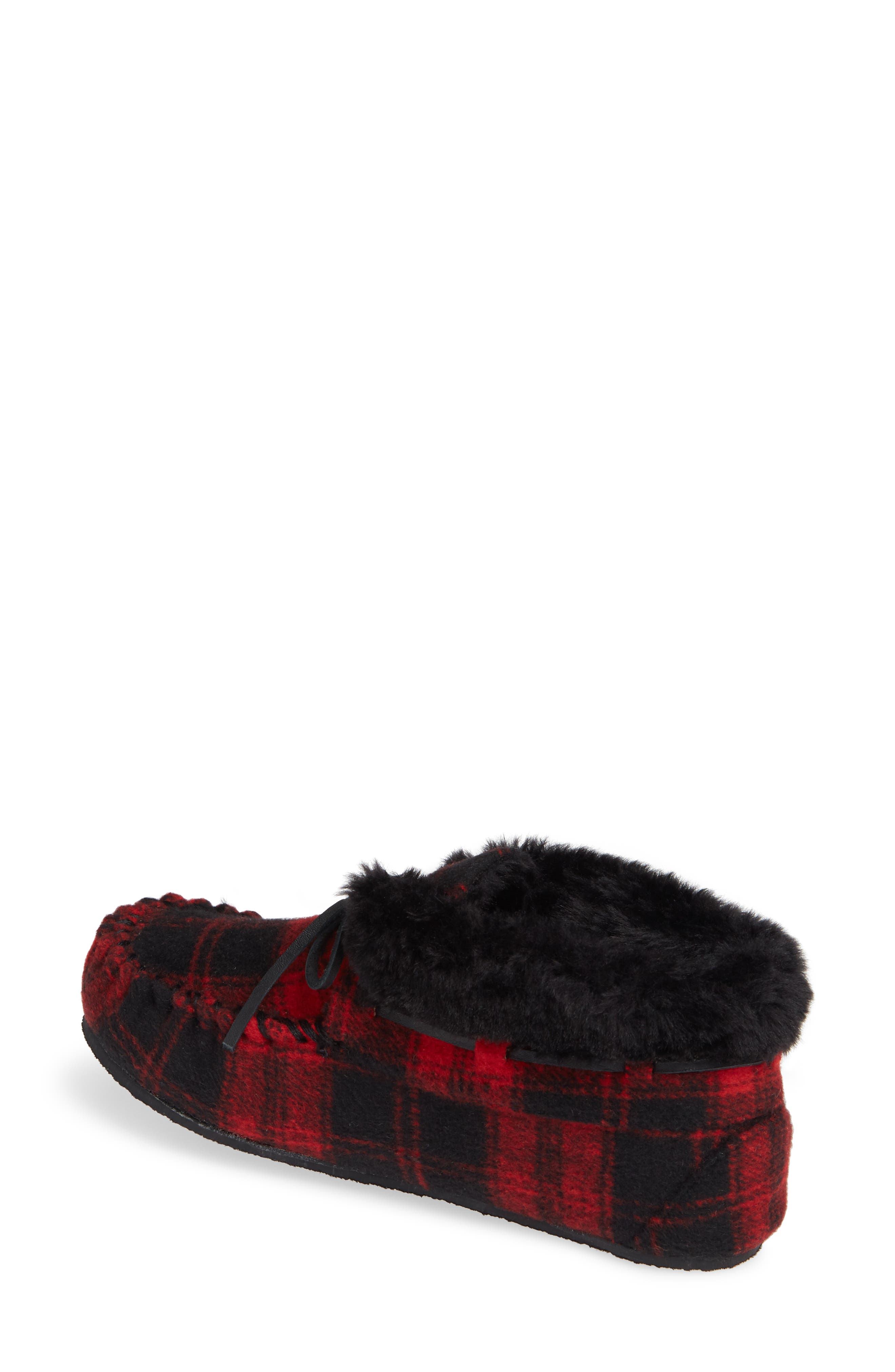 MINNETONKA,                             'Chrissy' Slipper Bootie,                             Alternate thumbnail 2, color,                             RED PLAID FABRIC
