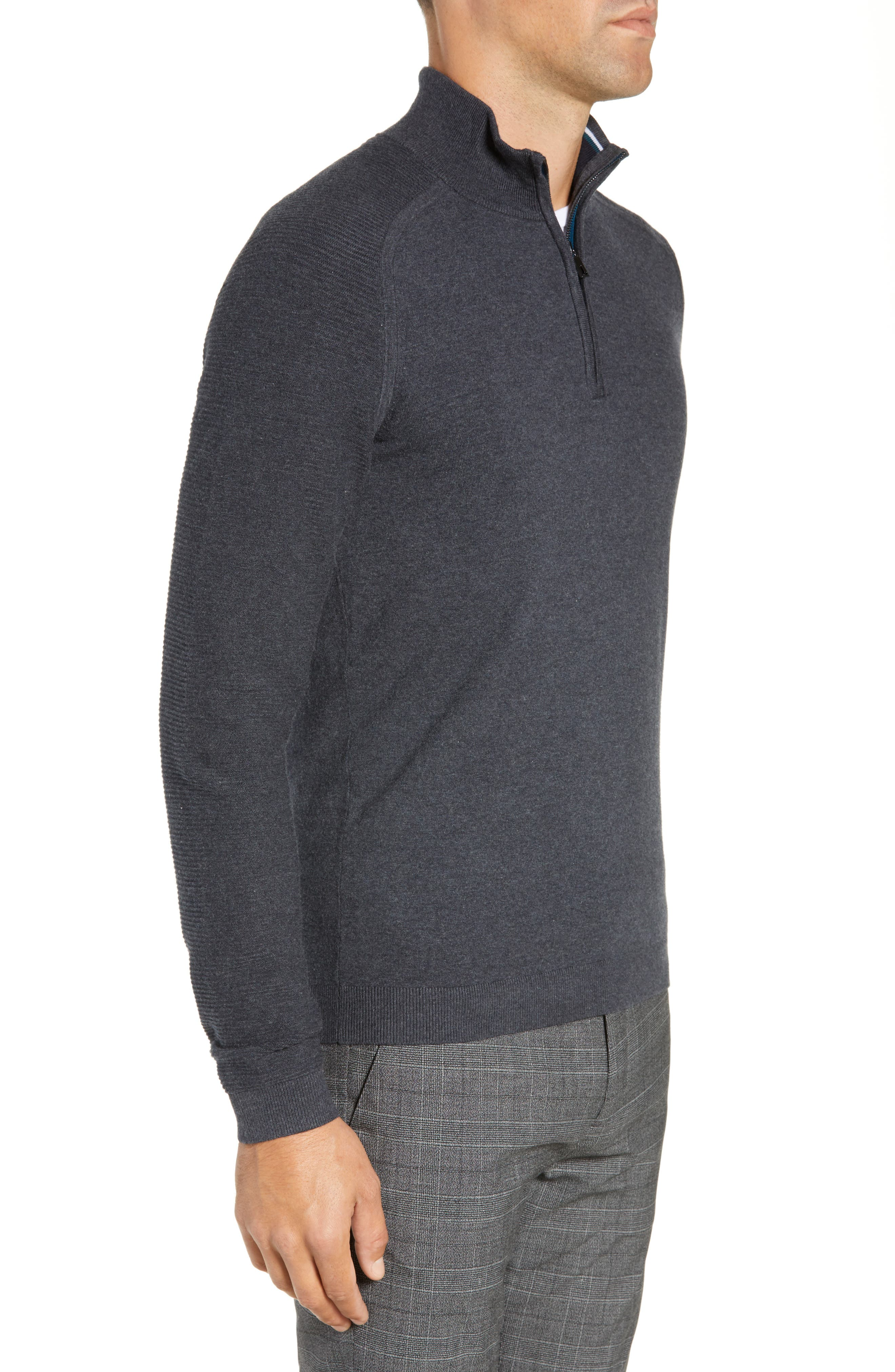 Just Run Trim Fit Funnel Neck Pullover,                             Alternate thumbnail 3, color,                             CHARCOAL
