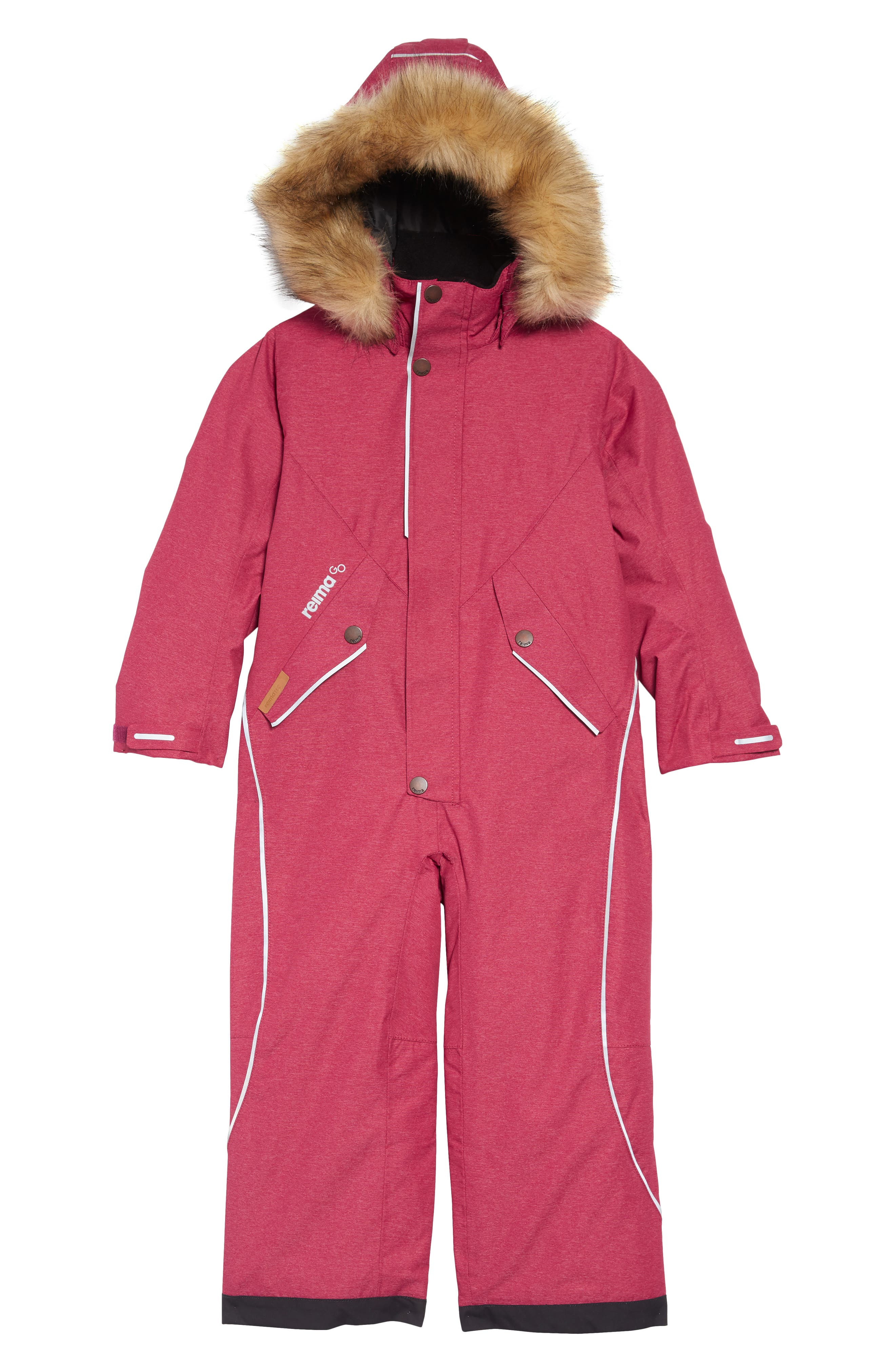 Toddler Girls Reima Vuoret Reimatec Waterproof Insulated Snow Suit With Faux Fur Trim Size 4Y  104 cm  Pink