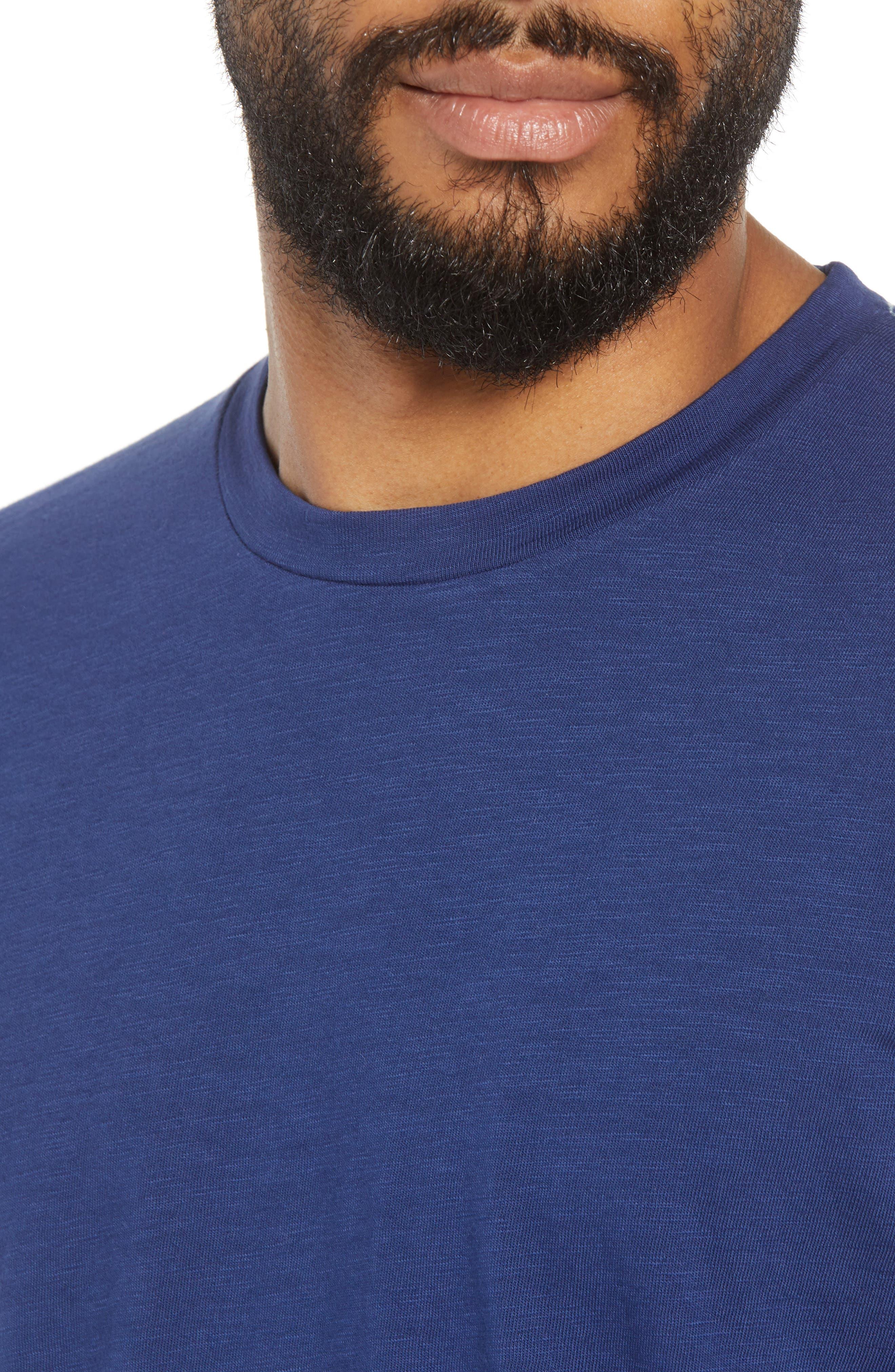 Scallop Hem Slub Crewneck T-Shirt,                             Alternate thumbnail 4, color,                             GOODLIFE NAVY