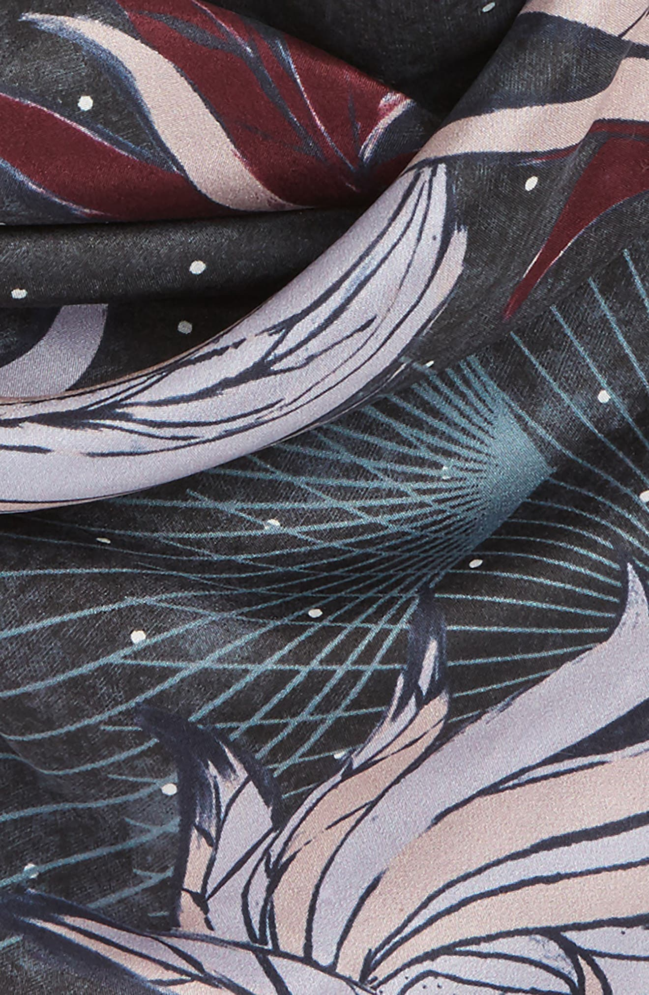 Disco Wings Silk Scarf,                             Alternate thumbnail 3, color,                             001