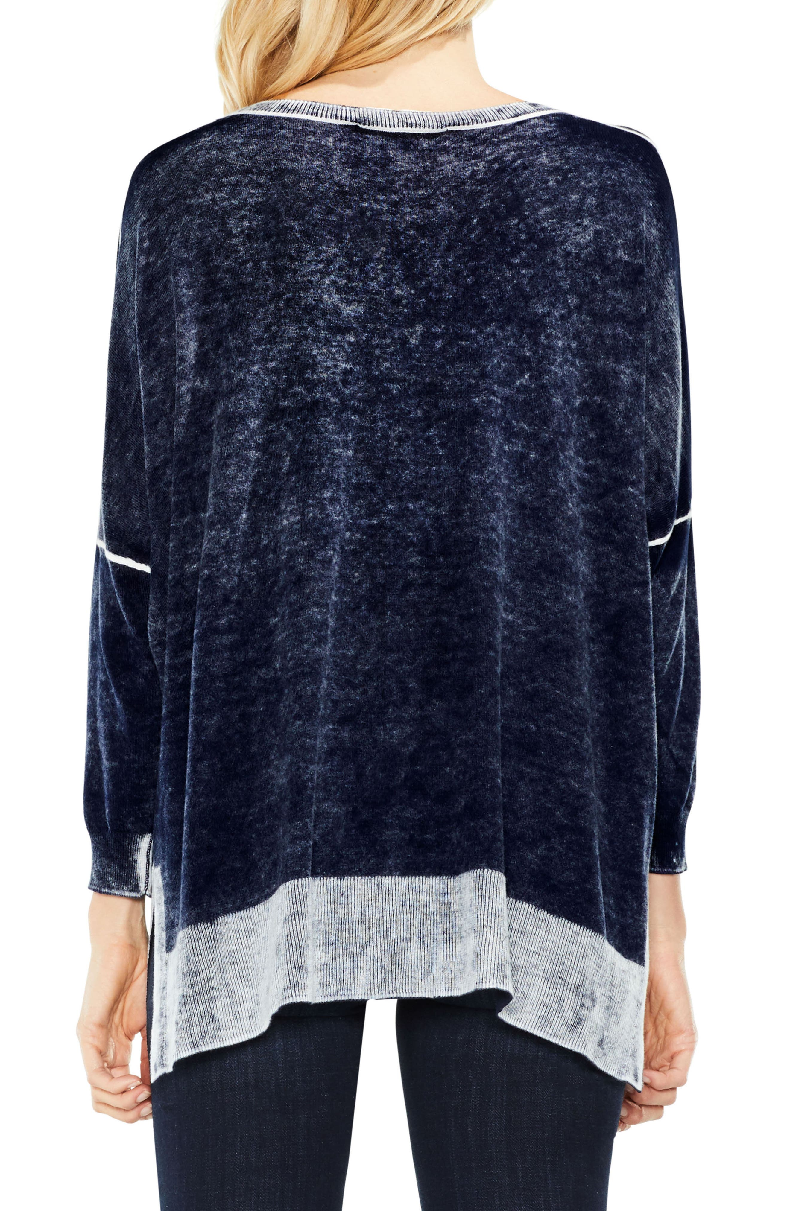 Two by Vince Camuto Inside Out Printed Sweater,                             Alternate thumbnail 2, color,                             BLUE NIGHT