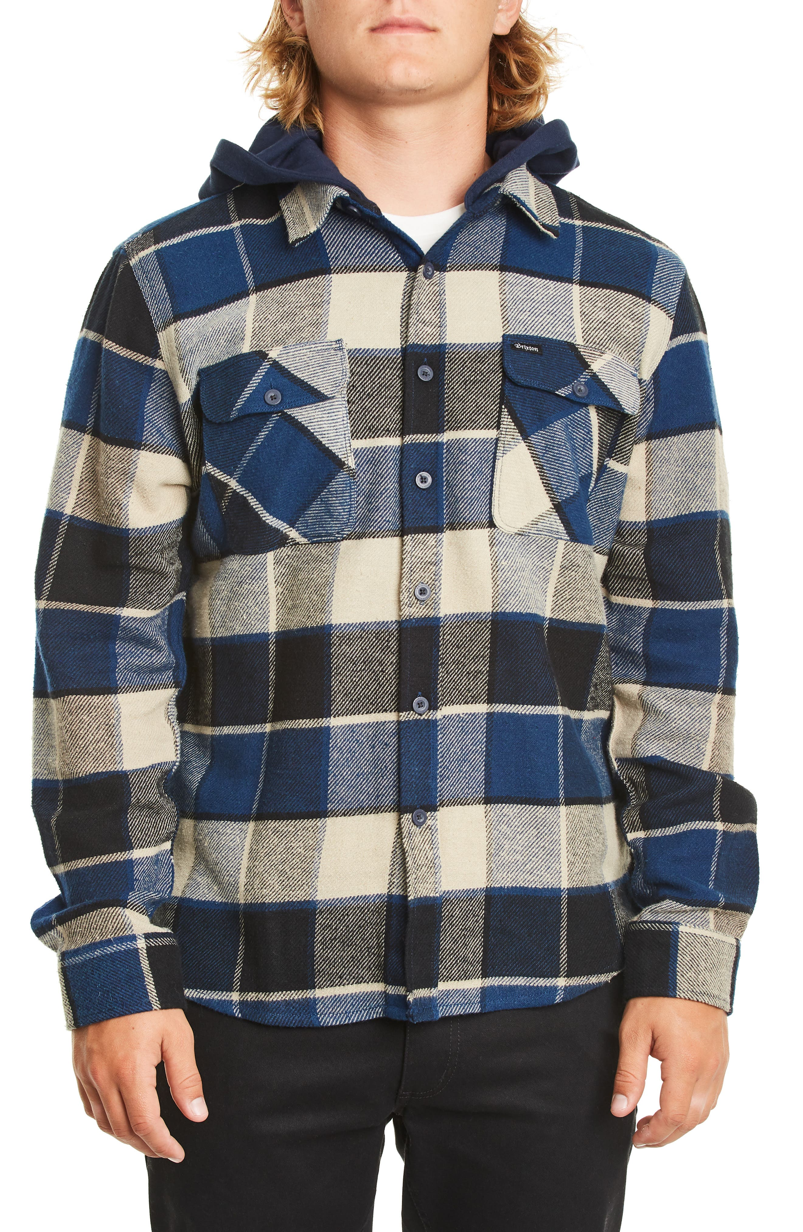 Brixton Bowery Plaid Flannel Shirt With Hood, Black