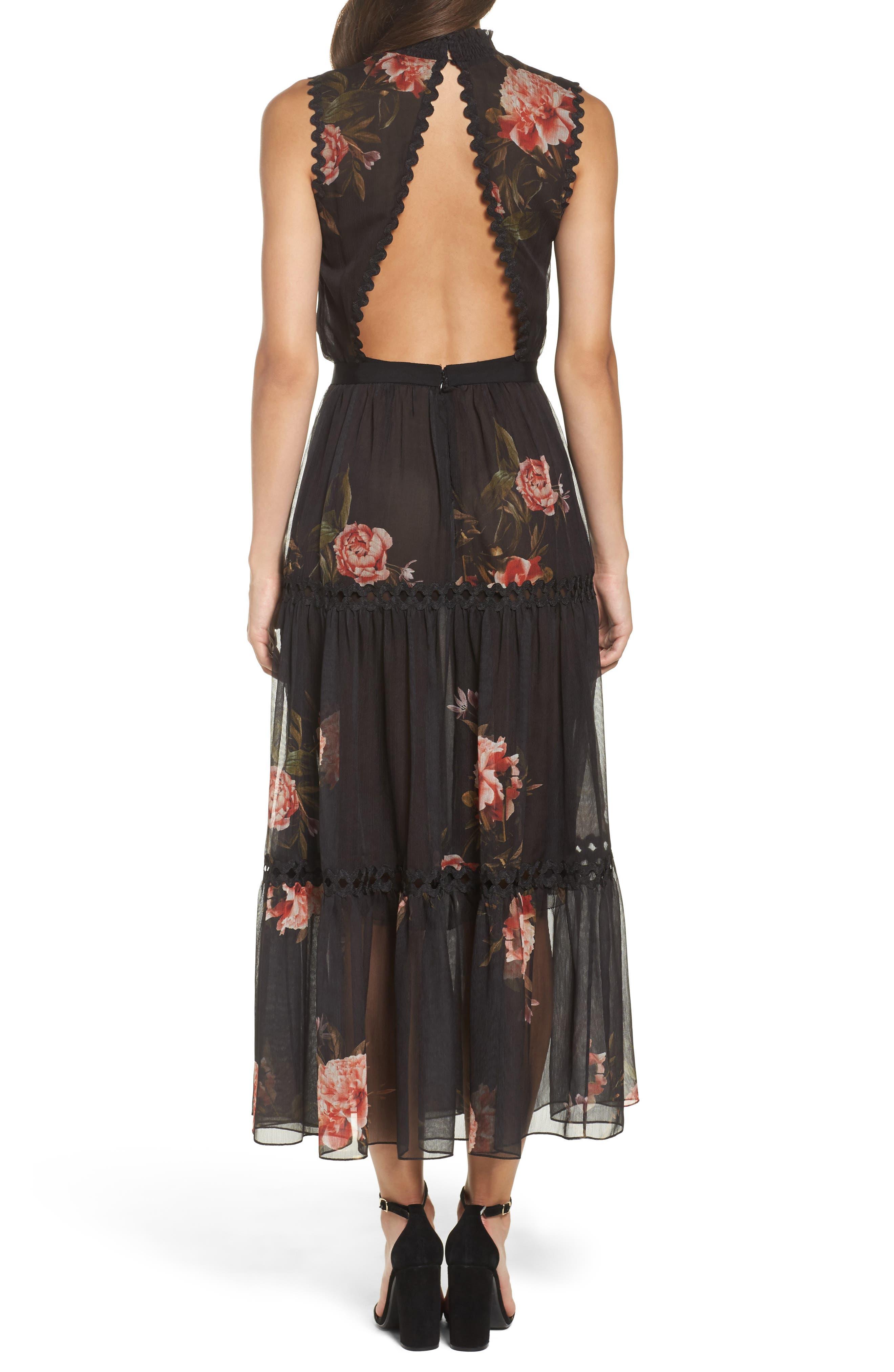 Noir Rana Smocked Neck Midi Dress,                             Alternate thumbnail 2, color,                             001