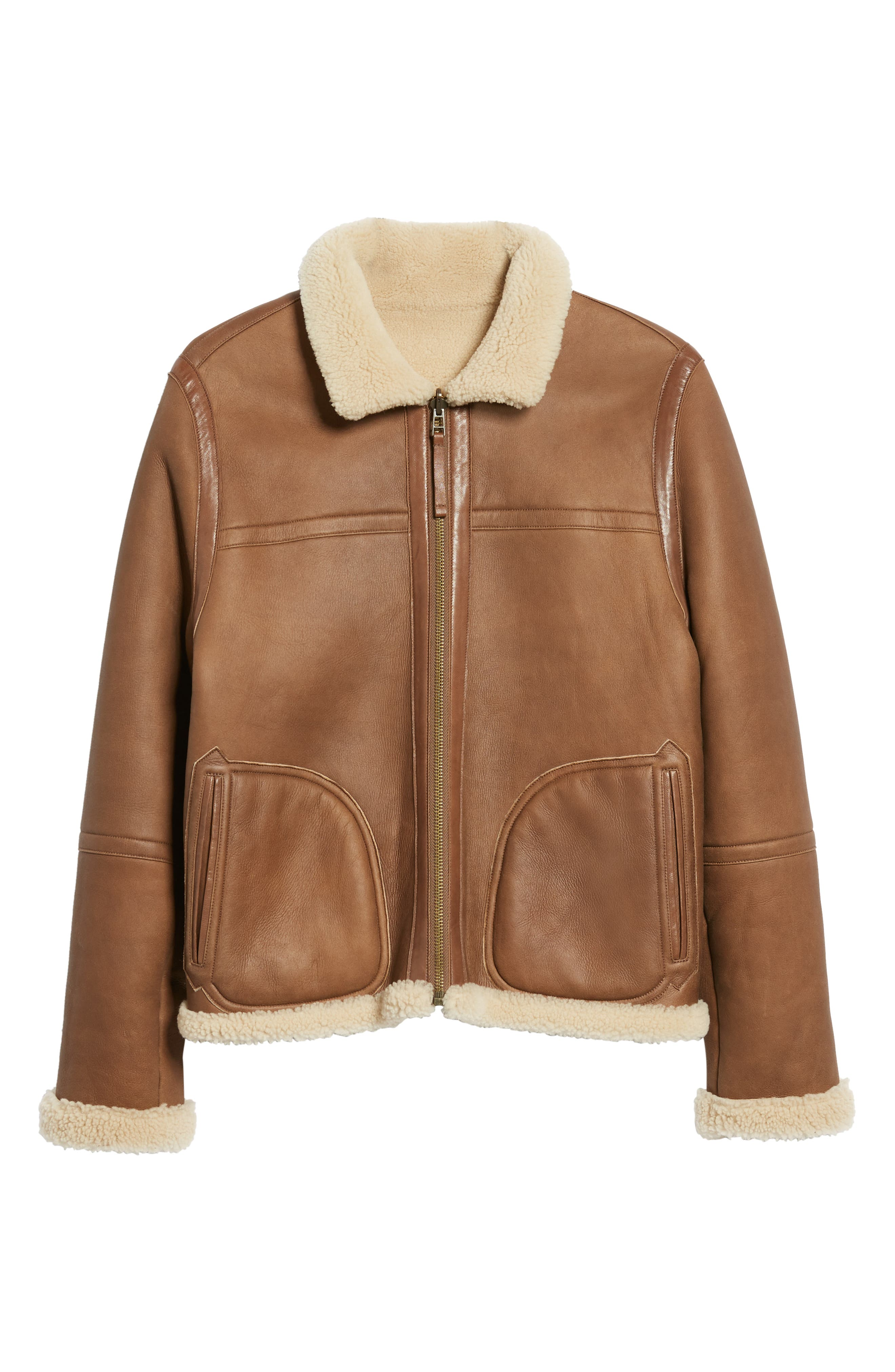 Reversible Genuine Shearling Jacket,                             Alternate thumbnail 6, color,                             117