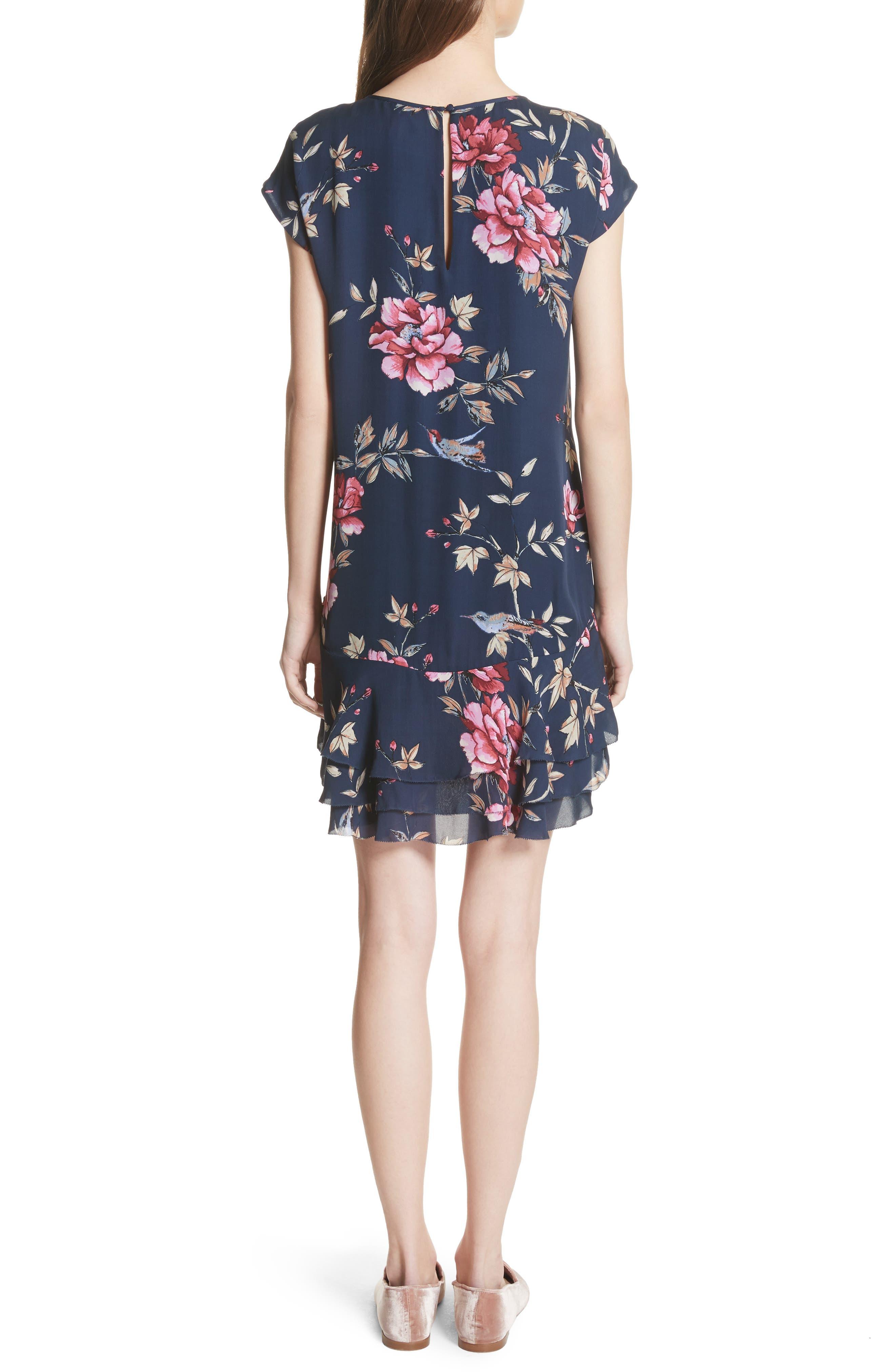 Coreen Drop Waist Floral Silk Dress,                             Alternate thumbnail 2, color,                             DARK NAVY