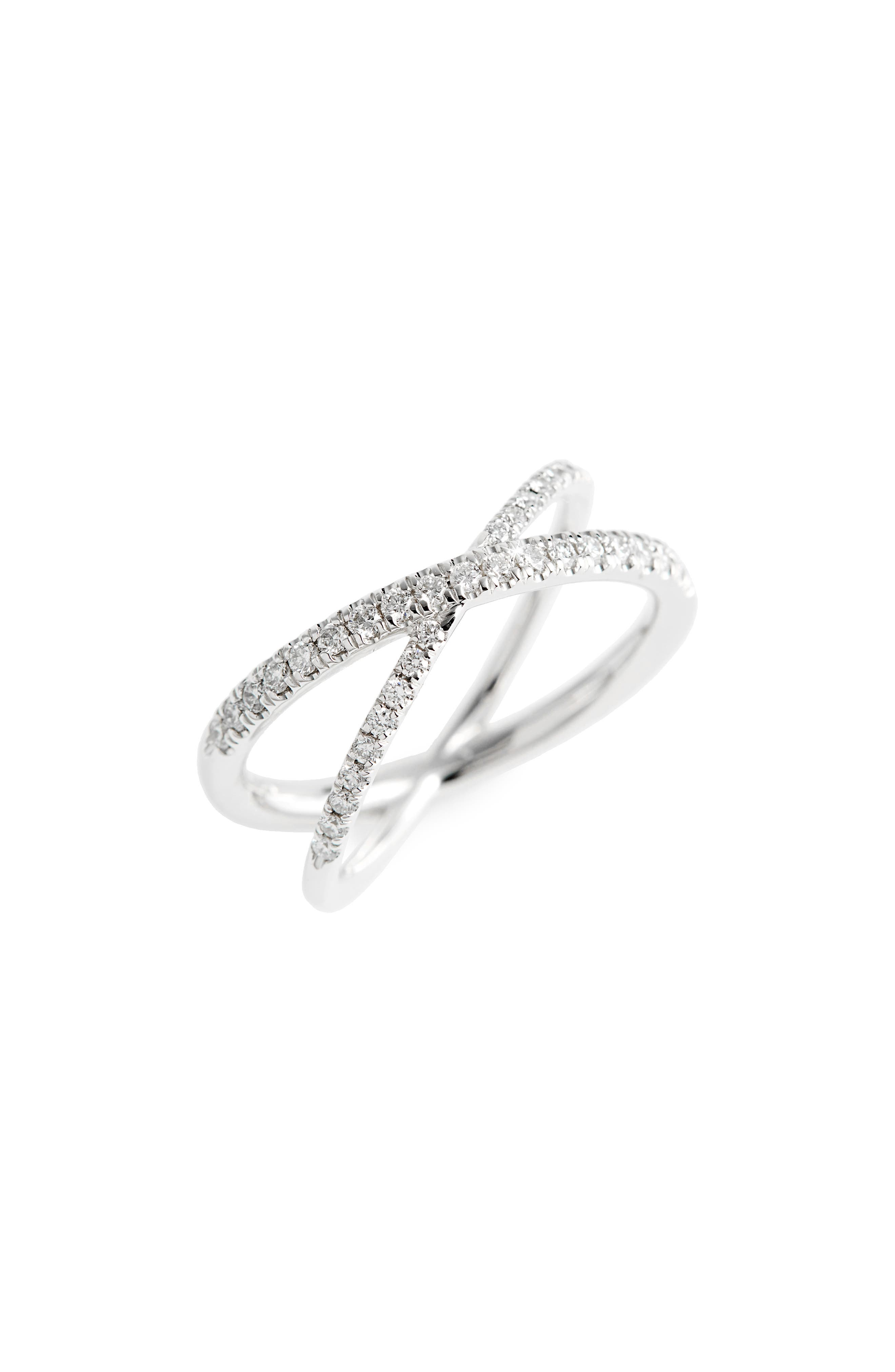 Diamond Crisscross Ring,                         Main,                         color, WHITE GOLD