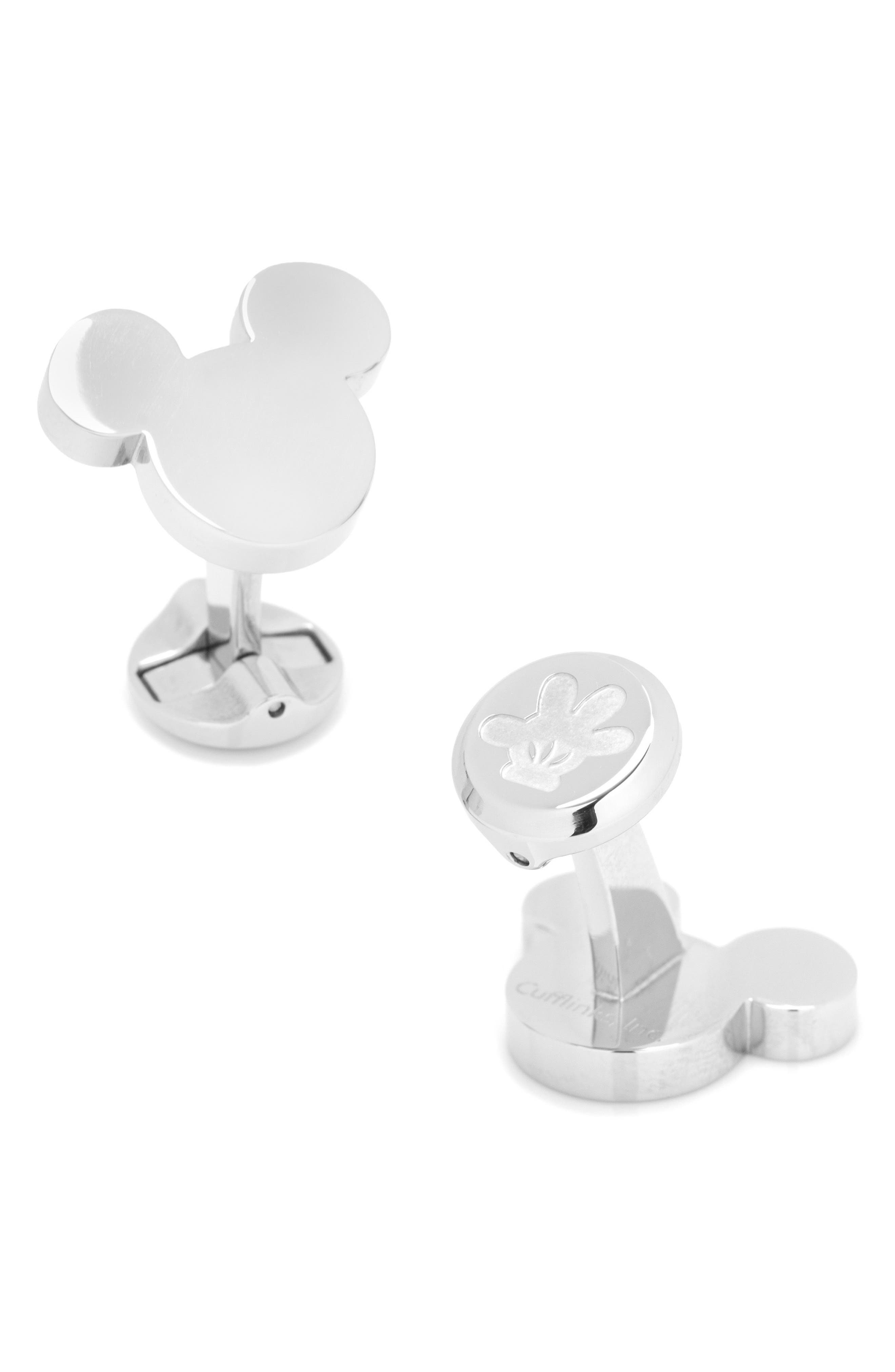 Disney Mickey Mouse Cuff Links,                         Main,                         color, SILVER