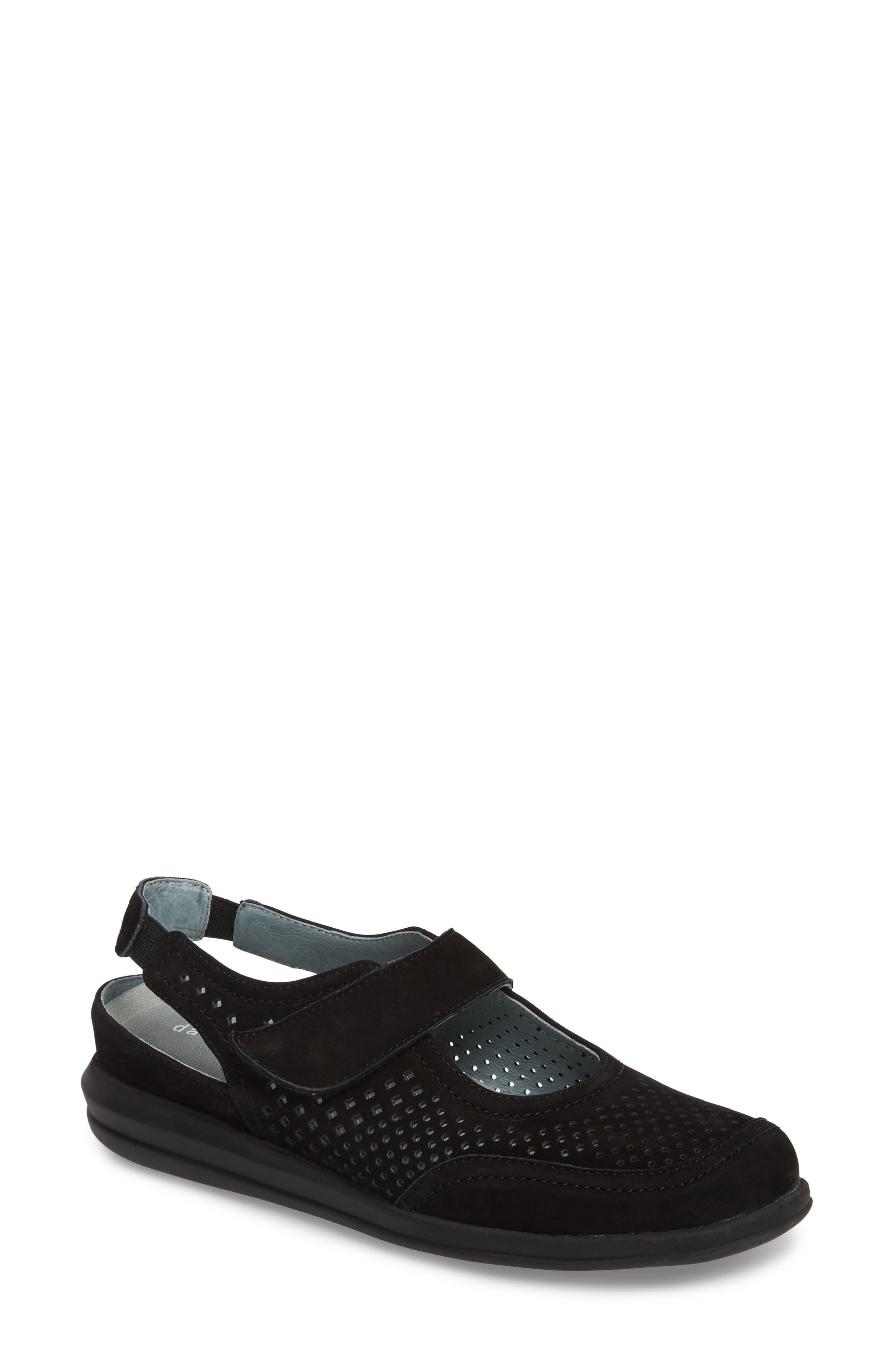 Clever Slingback Sneaker,                         Main,                         color, BLACK NUBUCK