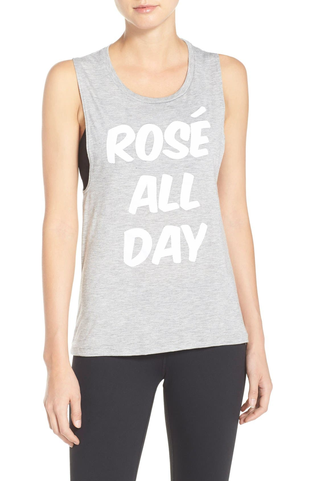 Rosé All Day Jersey Muscle Tee,                             Main thumbnail 1, color,                             020