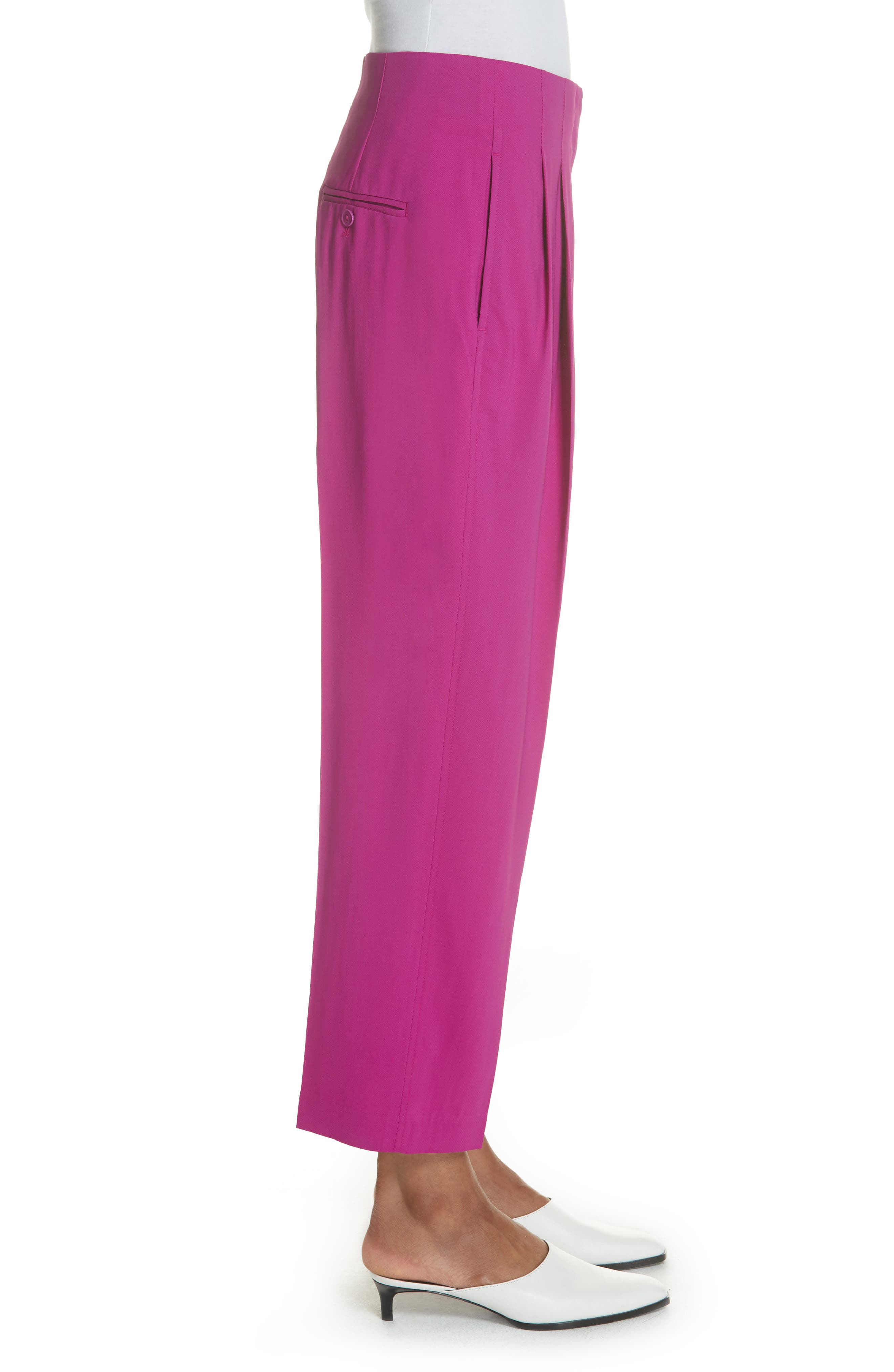 Pleated Crop Trousers,                             Alternate thumbnail 3, color,                             FUCHSIA