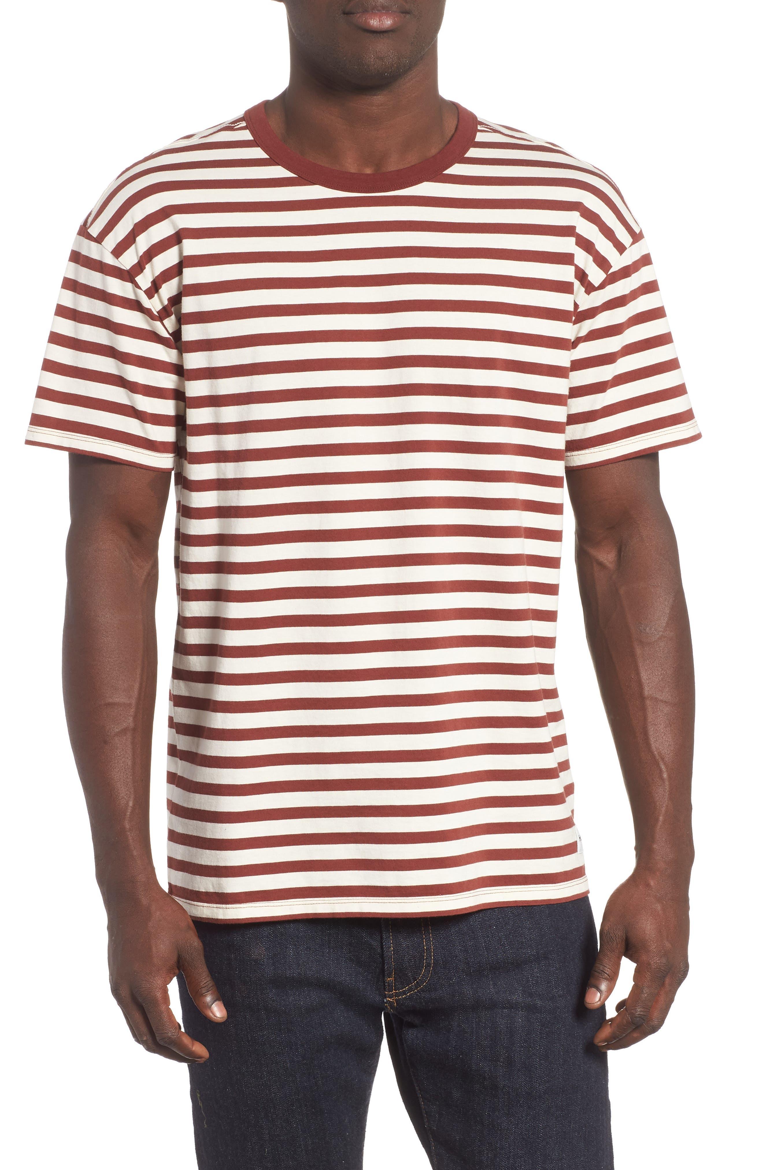 Hurley Salton Stripe T-Shirt, Brown