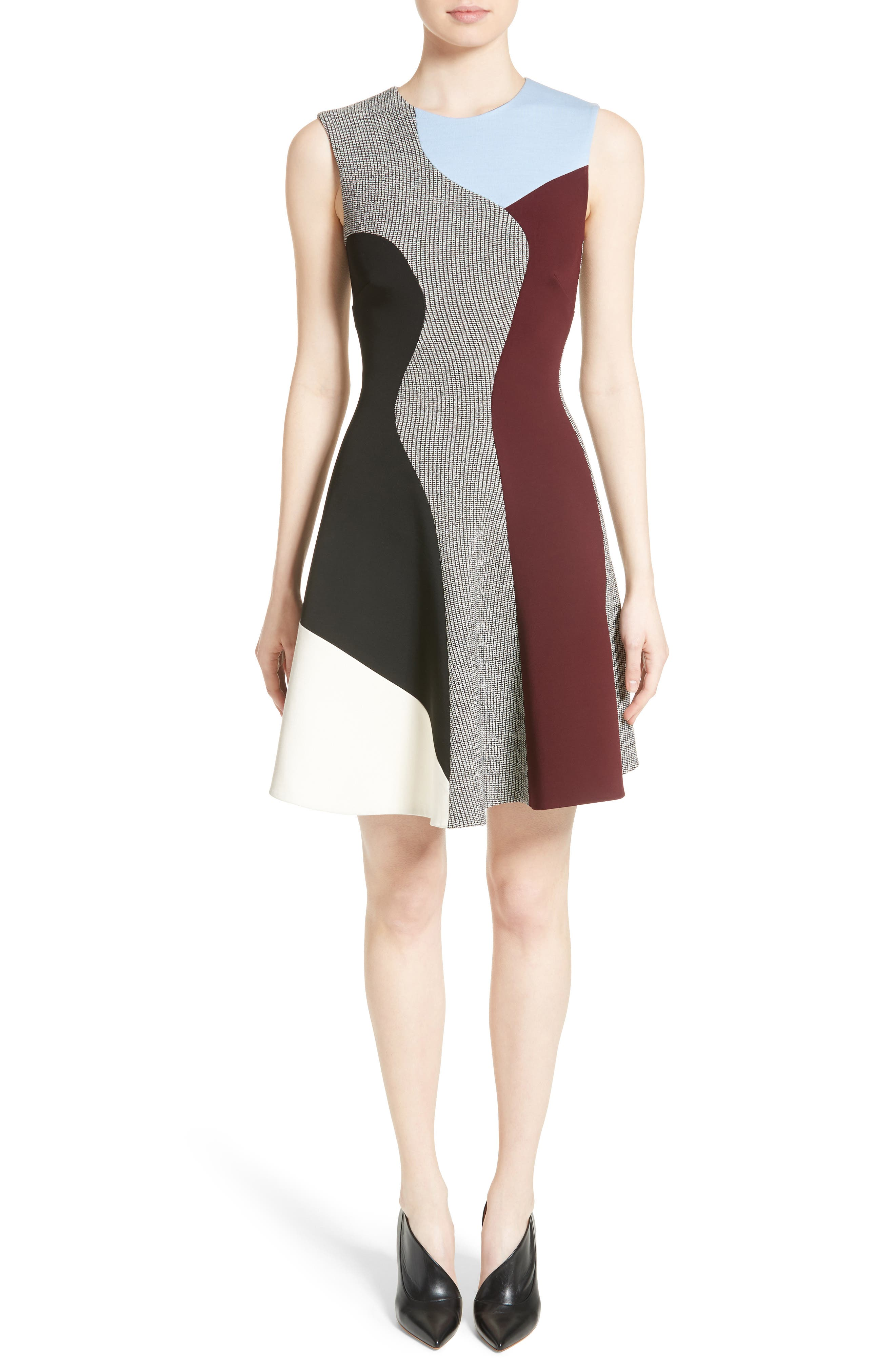 Houndstooth Panel Flared Dress,                             Main thumbnail 1, color,                             001