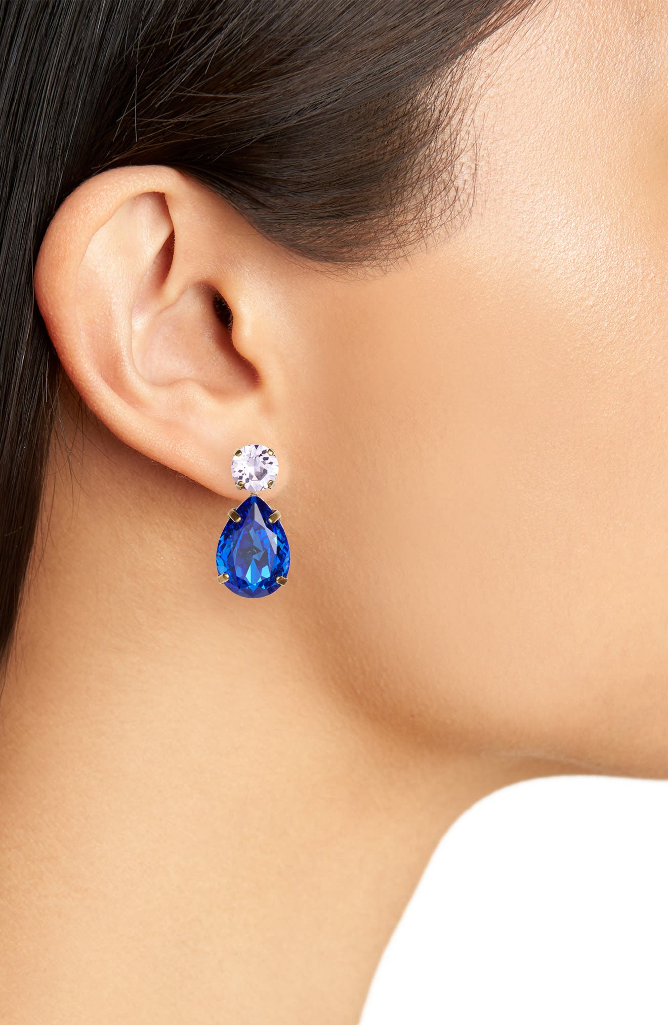 Teardrop Crystal Earrings,                             Alternate thumbnail 2, color,                             BLUE