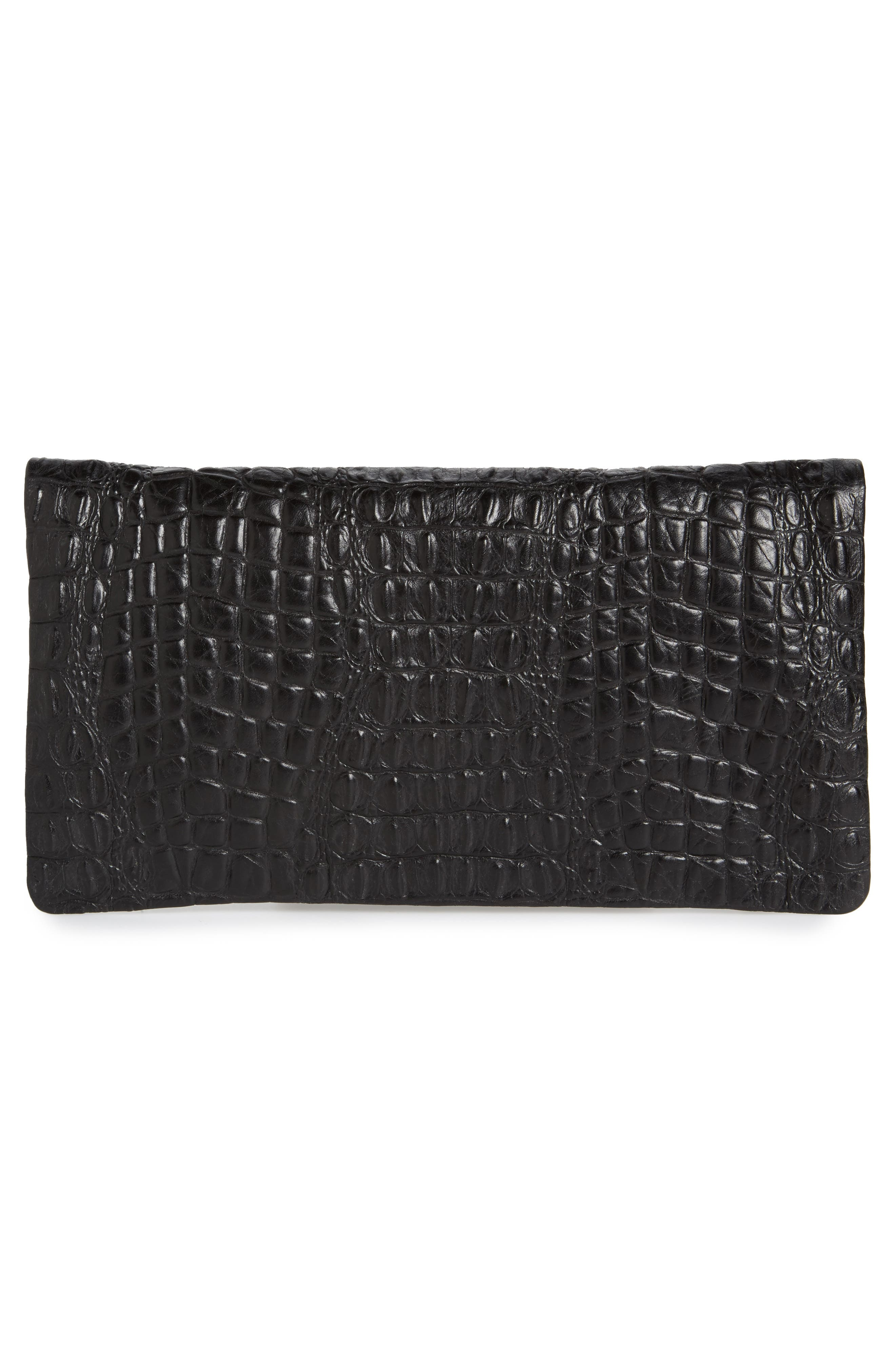 Croc Embossed Leather Foldover Clutch,                             Alternate thumbnail 3, color,                             001
