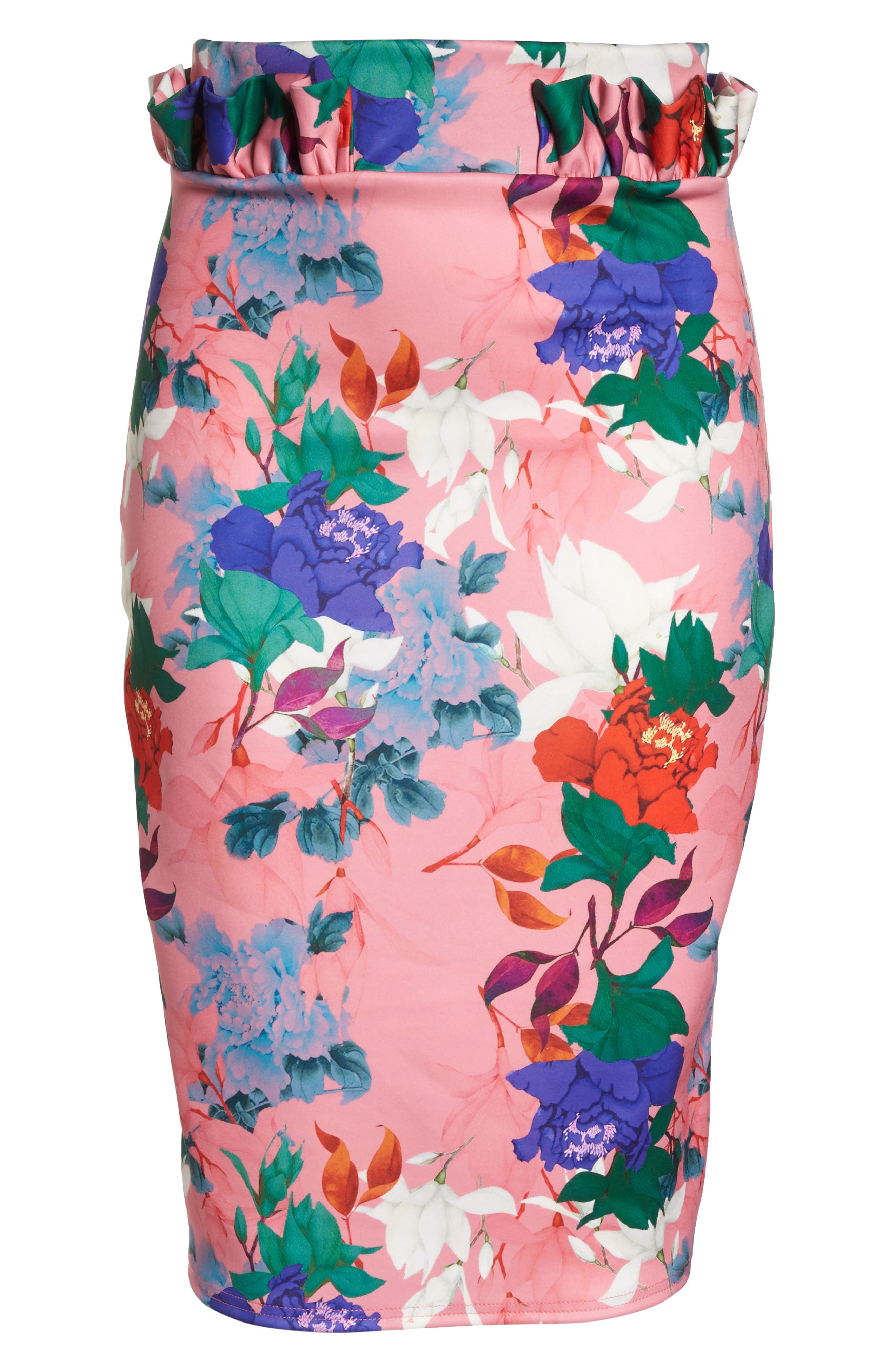 LOST INK,                             Floral Ruffle Pencil Skirt,                             Alternate thumbnail 7, color,                             658