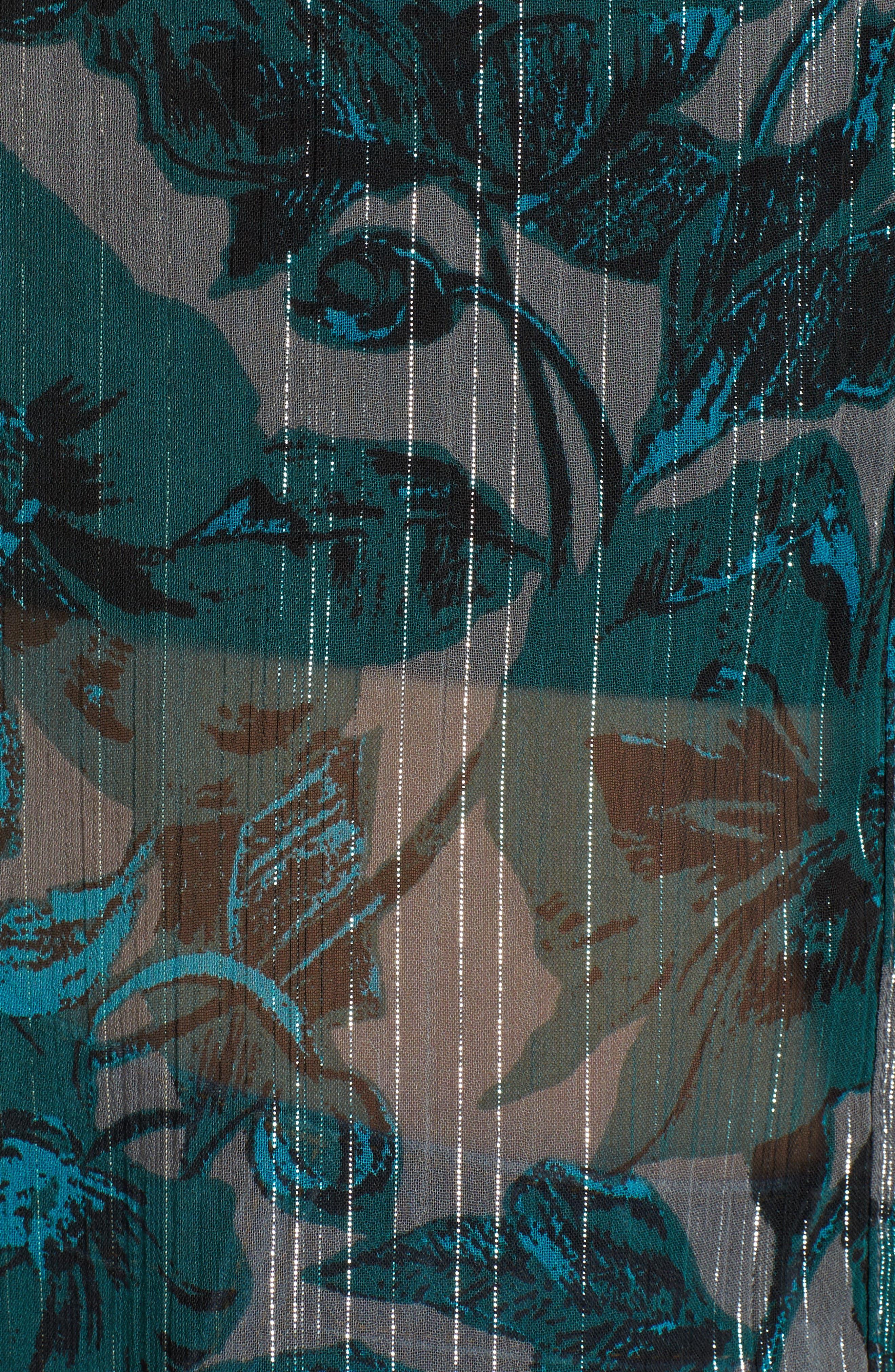 Sheer Metallic Floral Shirt,                             Alternate thumbnail 5, color,                             301