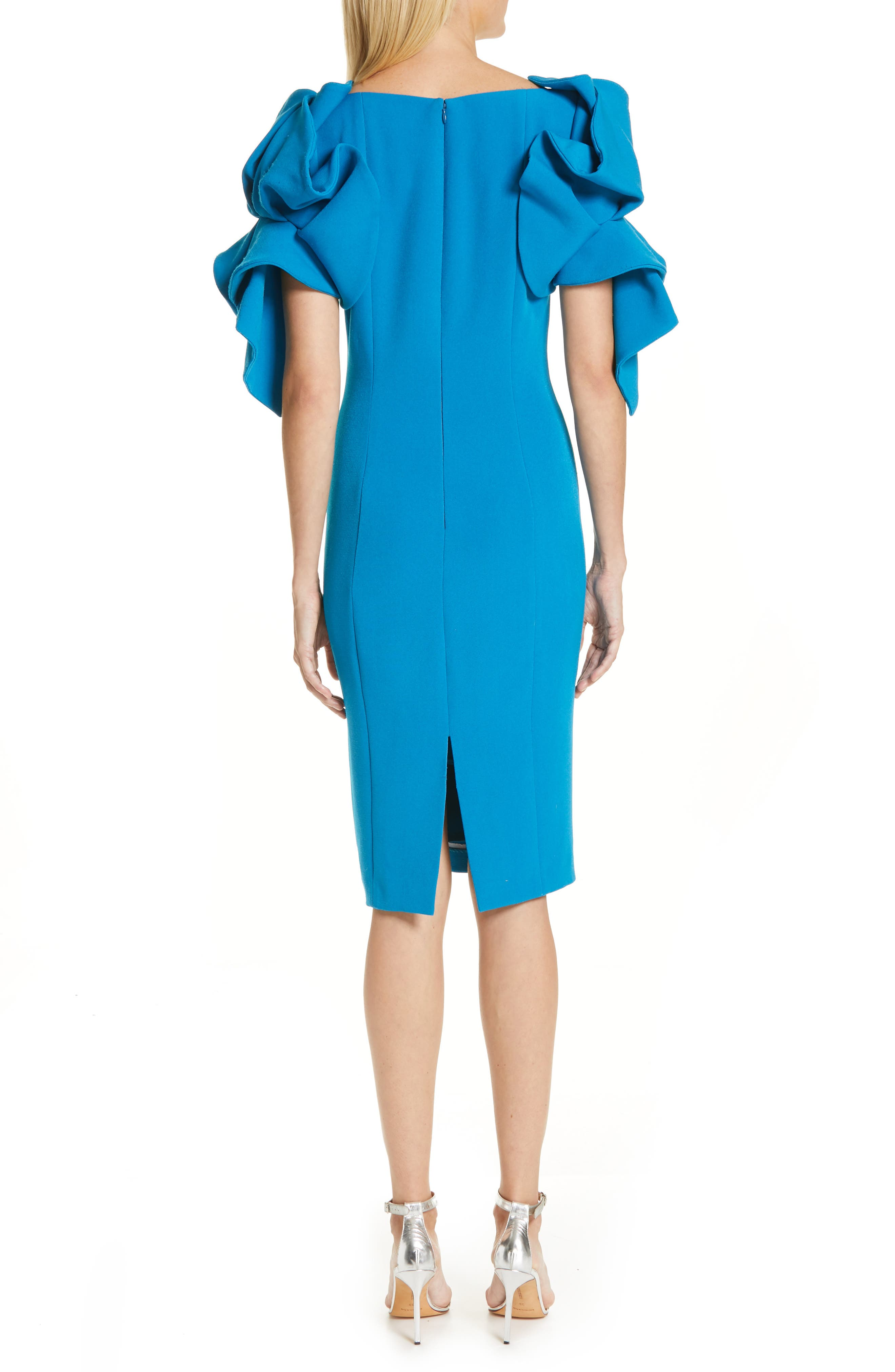 BADGLEY MISCHKA COLLECTION,                             Origami Sleeve Cocktail Dress,                             Alternate thumbnail 2, color,                             BRIGHT AQUA