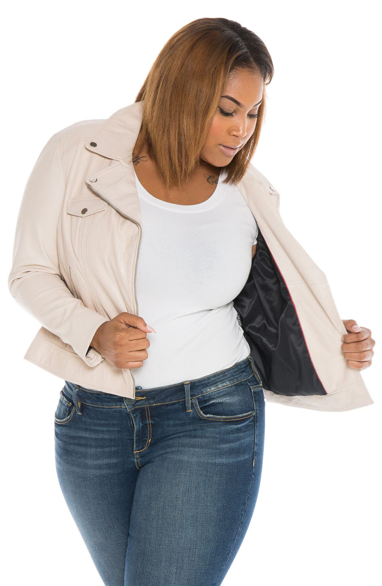 Crop Leather Moto Jacket,                             Alternate thumbnail 5, color,                             PINK