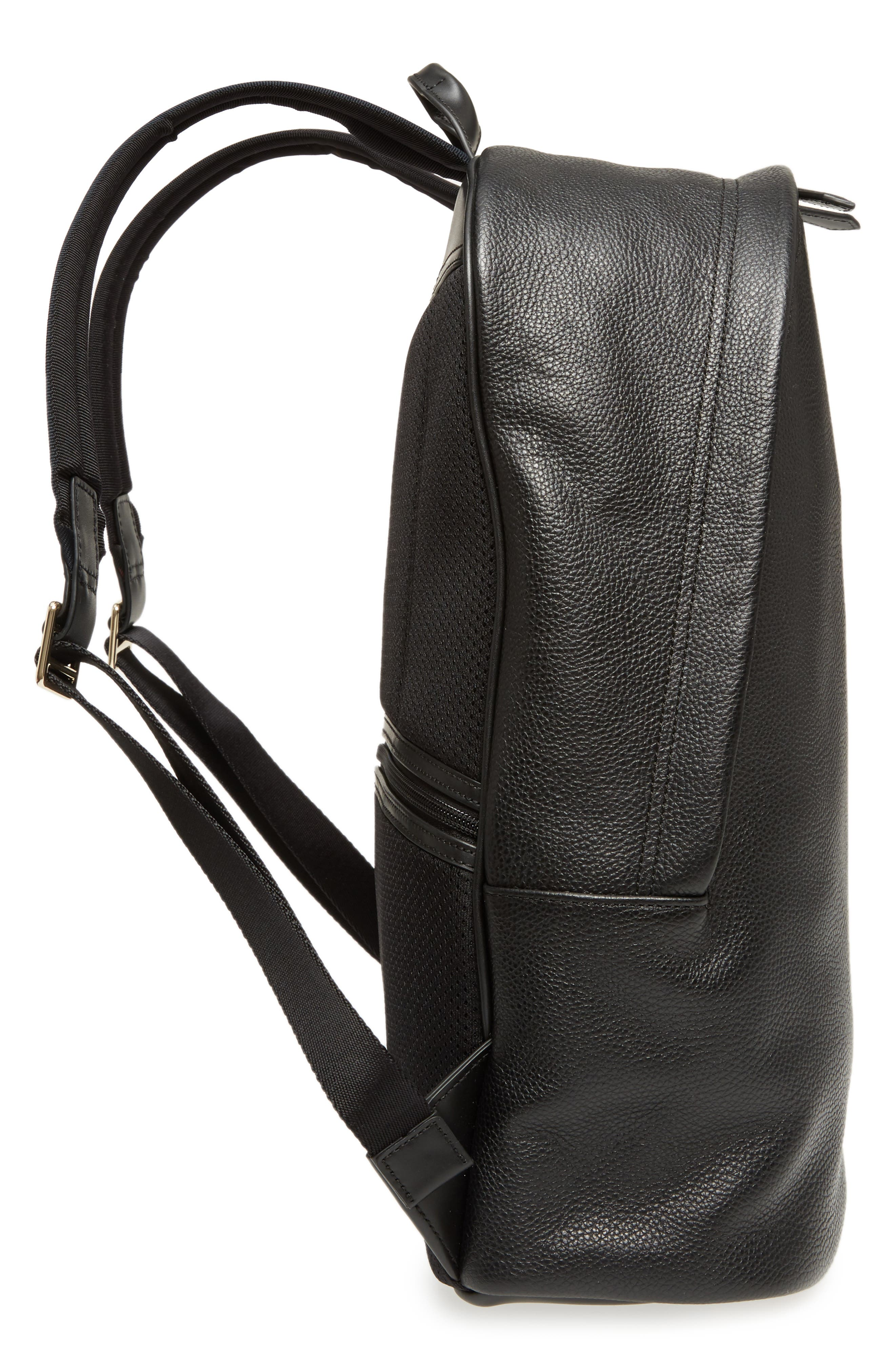 City Webbing Leather Backpack,                             Alternate thumbnail 5, color,                             001