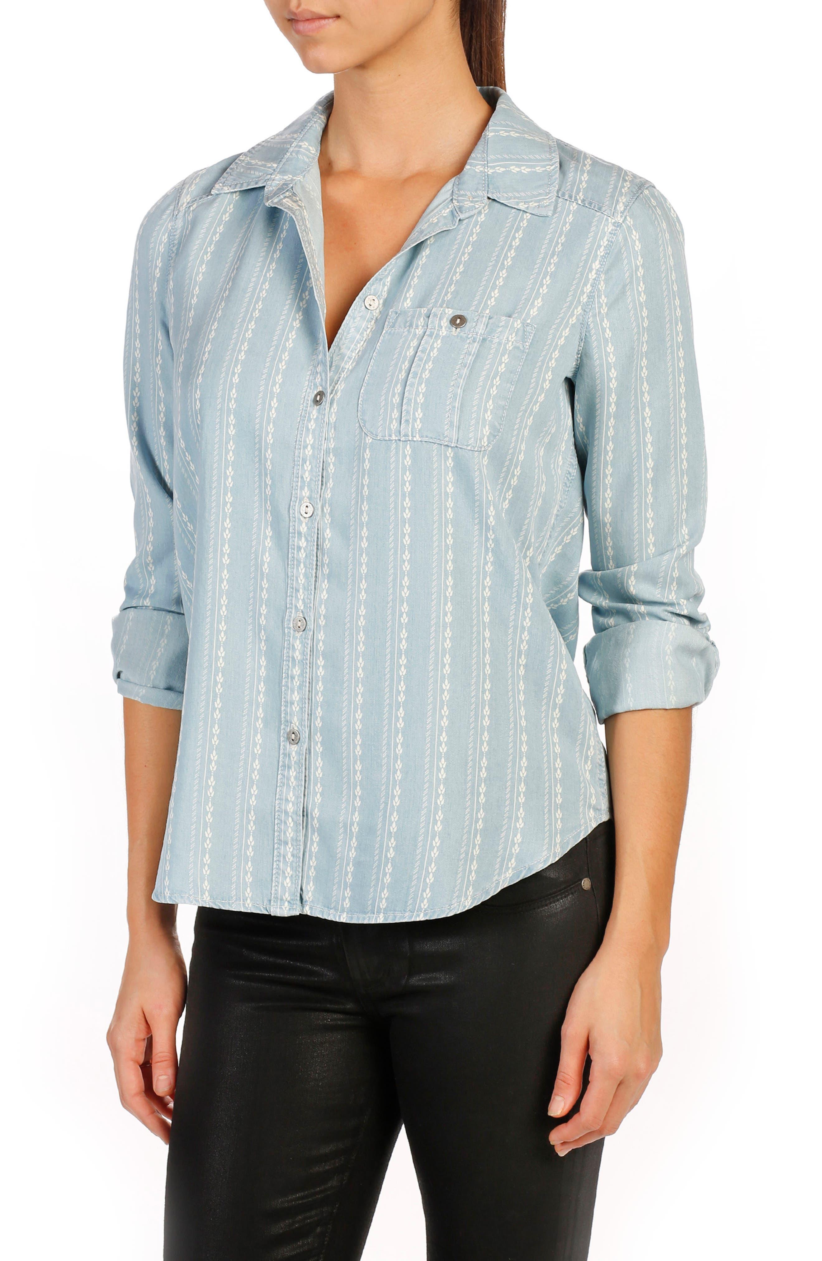 Trista Denim Shirt,                         Main,                         color, 400