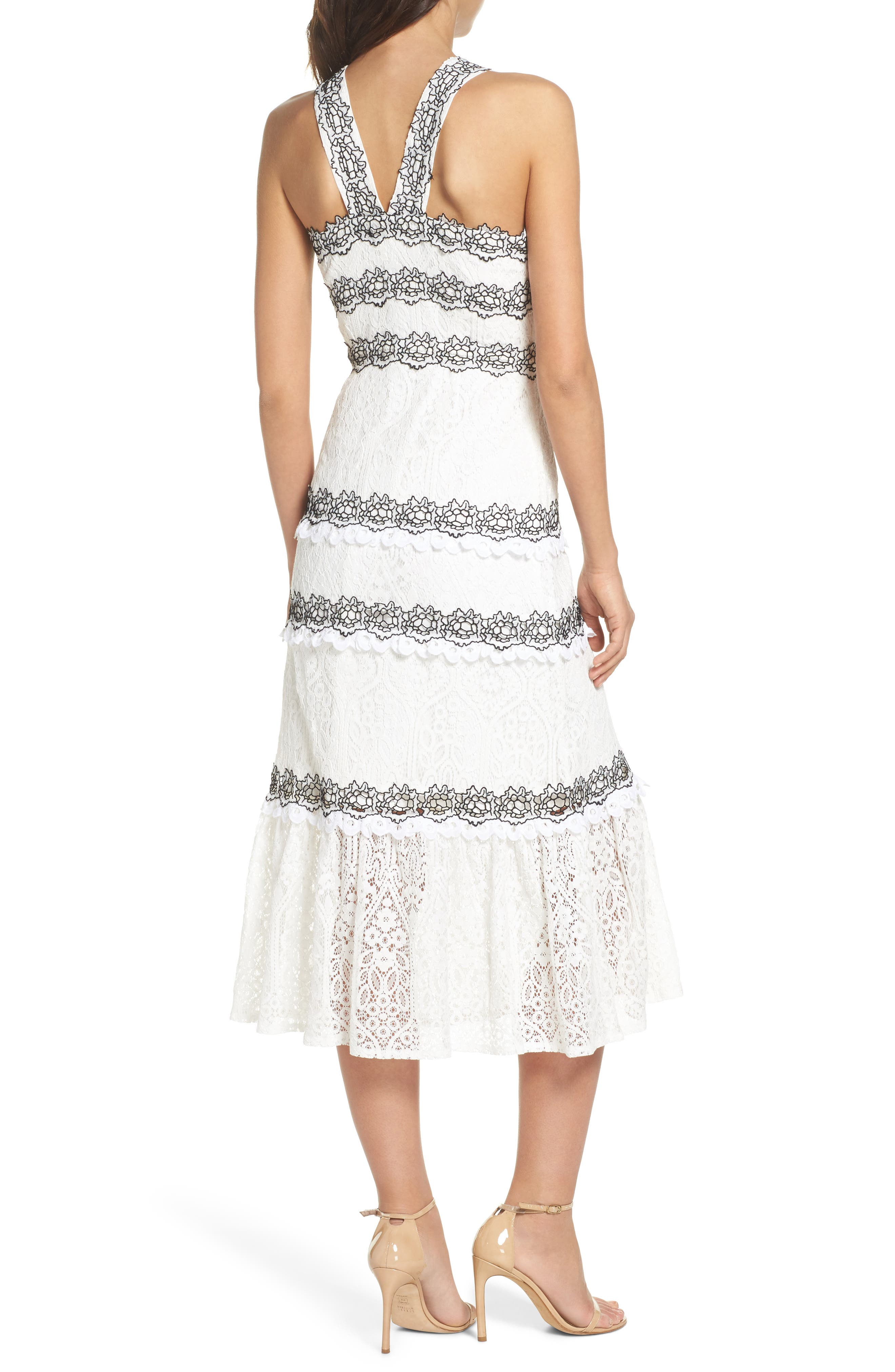 Frances Embroidered Lace Midi Dress,                             Alternate thumbnail 2, color,                             102