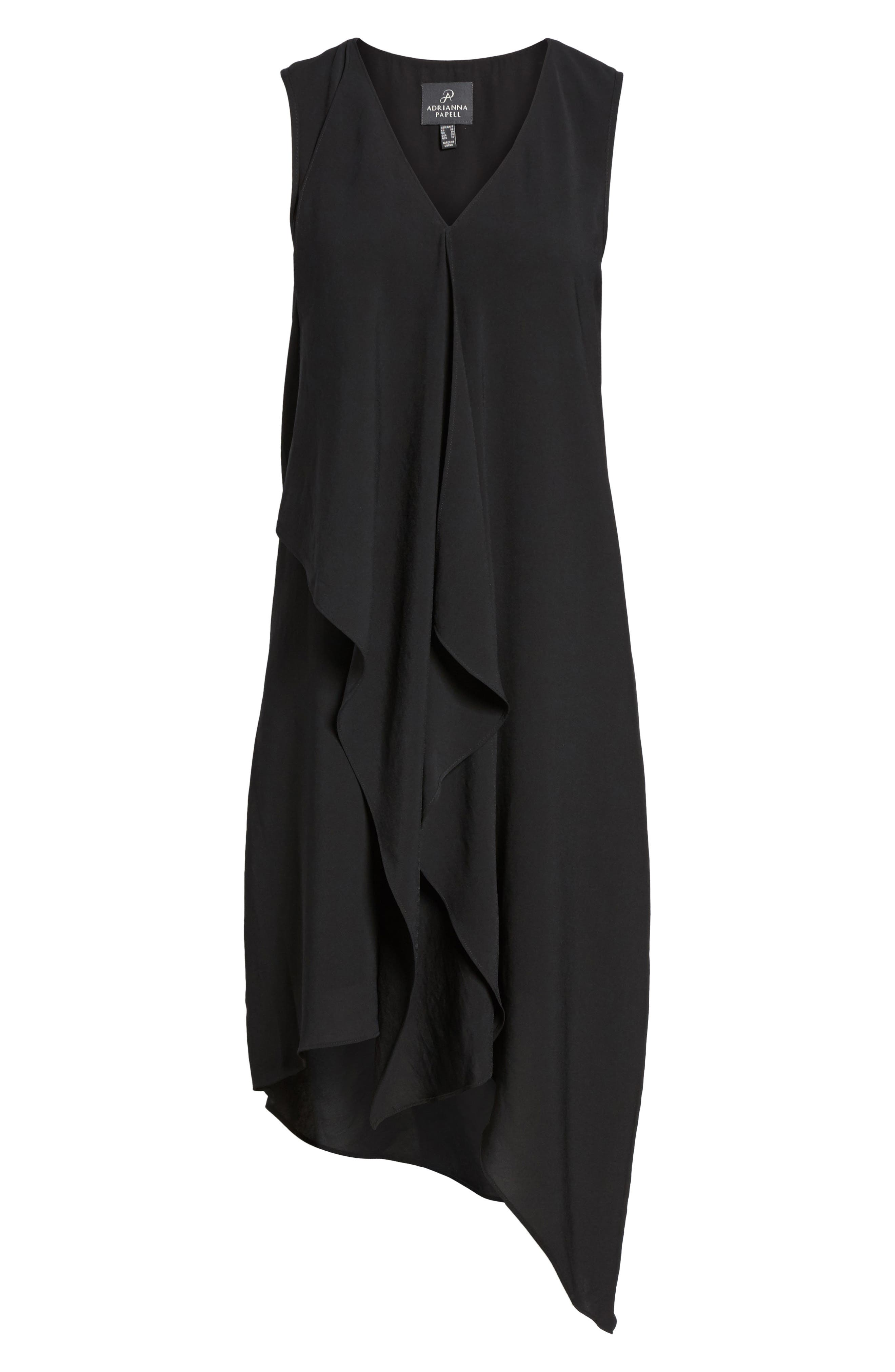 Ruffle Front Crepe High/Low Dress,                             Alternate thumbnail 2, color,                             BLACK