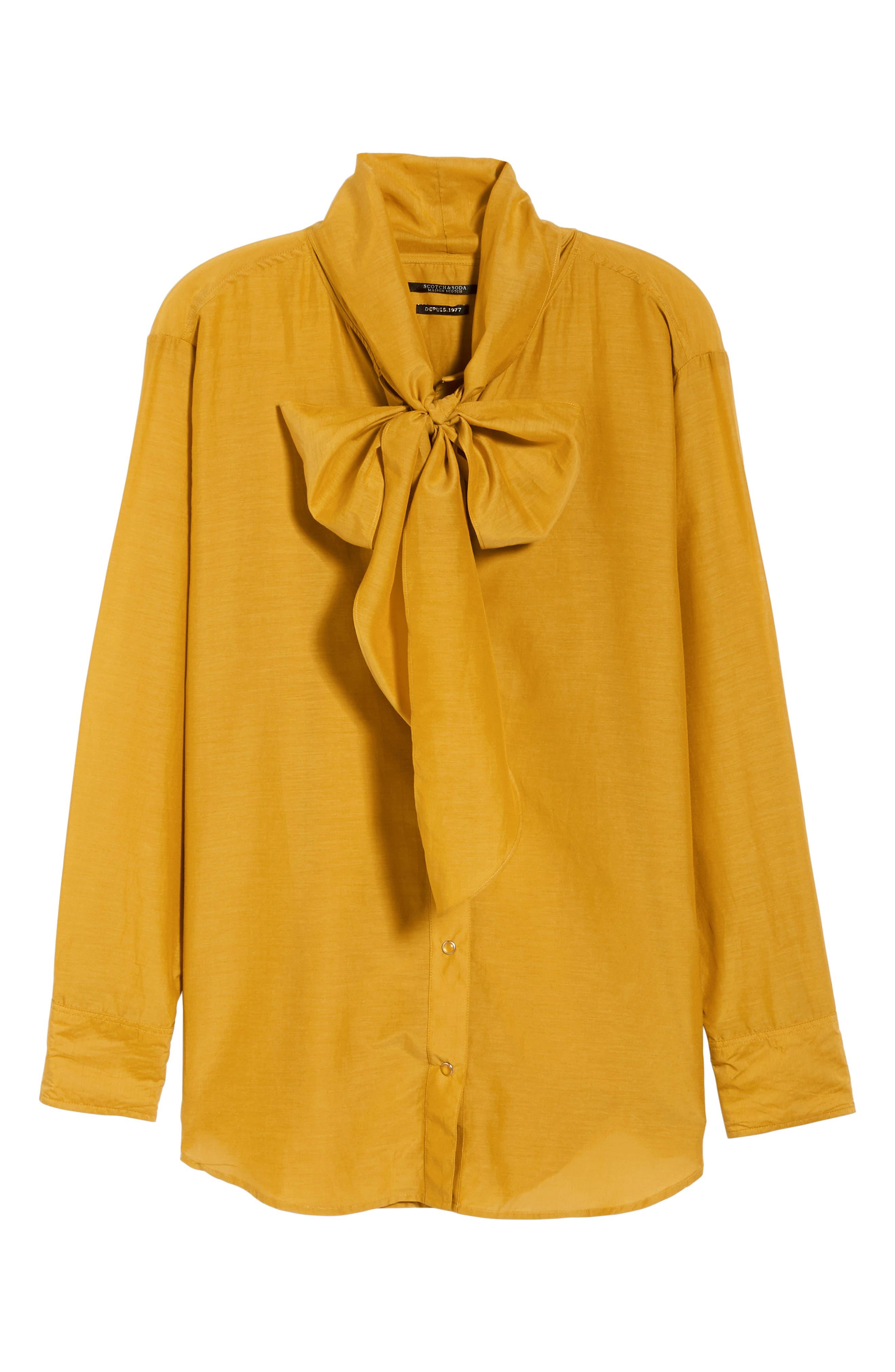 Cotton Silk Bow Tie Blouse,                             Alternate thumbnail 6, color,                             720