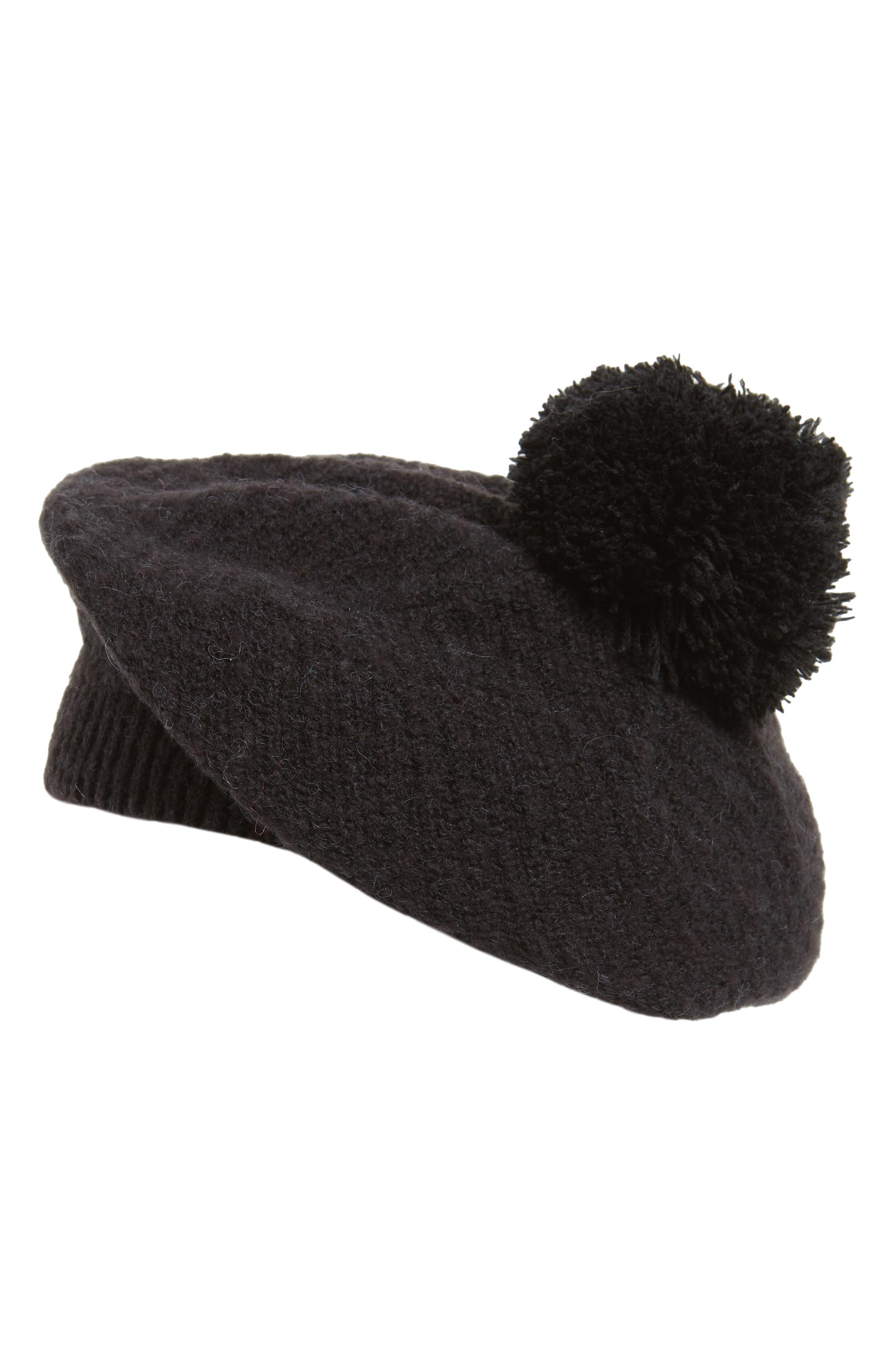 Knit Pom Beret,                         Main,                         color, BLACK