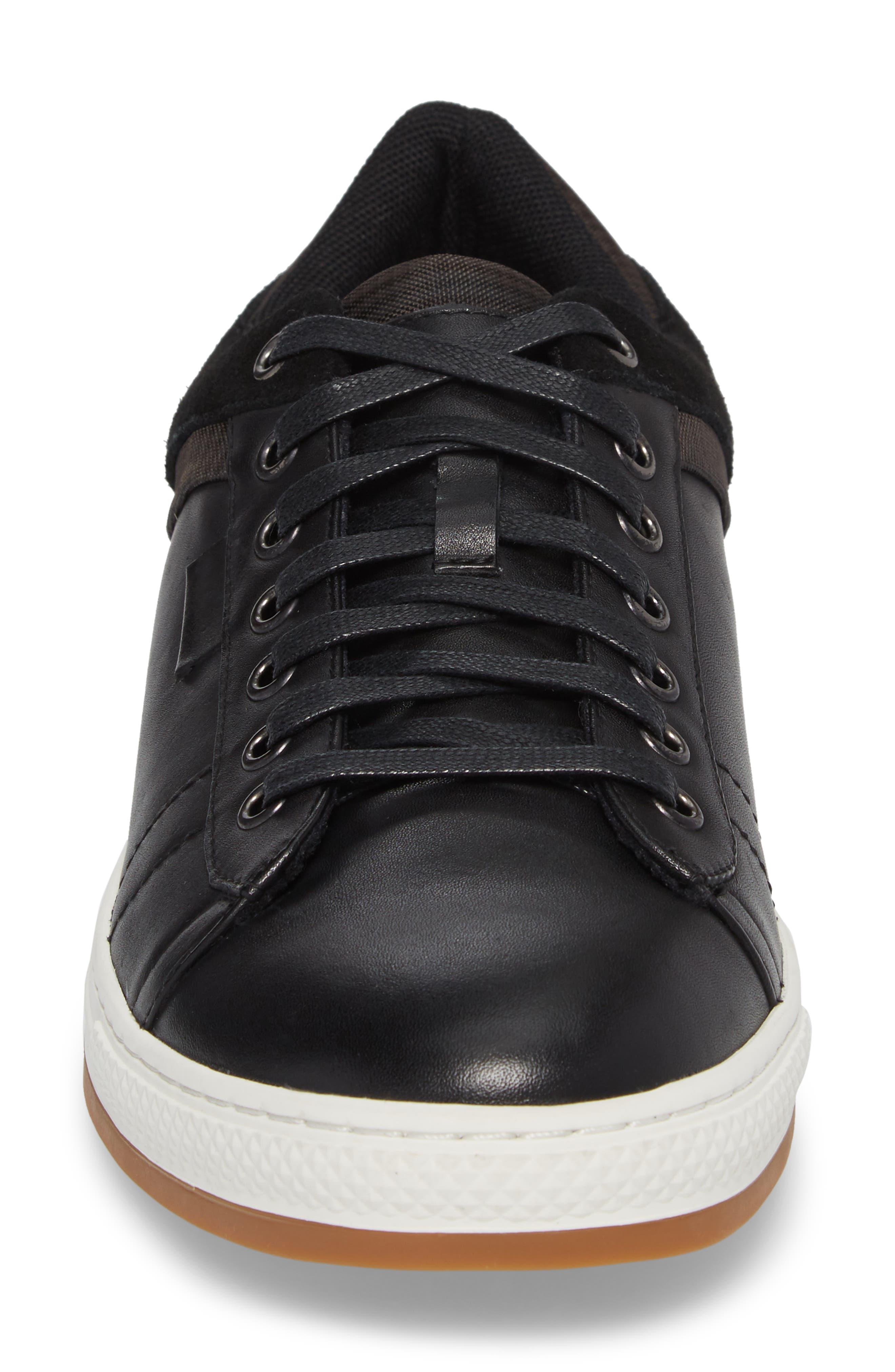 Ireton Low Top Sneaker,                             Alternate thumbnail 4, color,                             BLACK LEATHER/ SUEDE