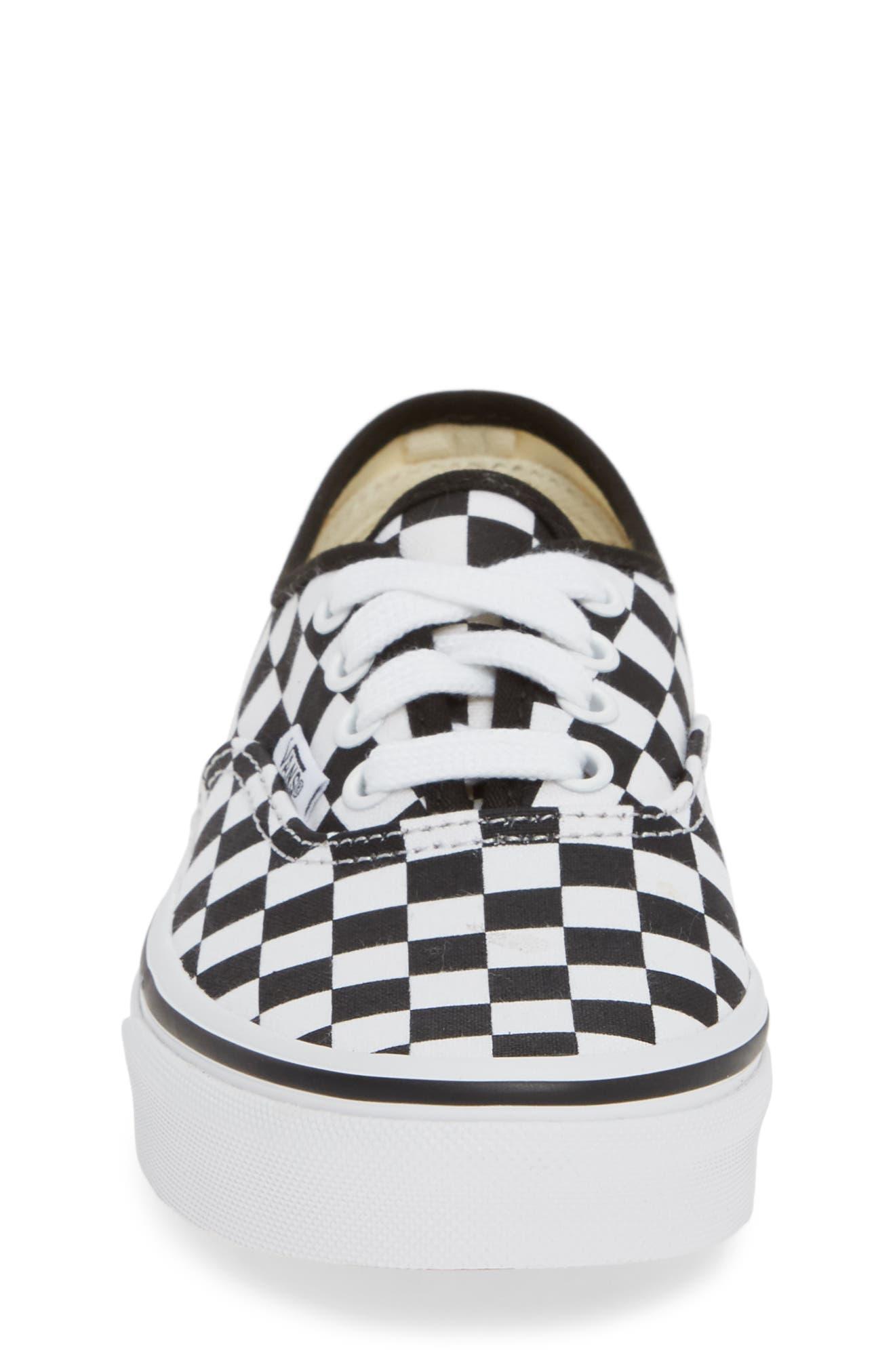 Authentic Elastic Lace Sneaker,                             Alternate thumbnail 4, color,                             BLACK/ TRUE WHITE