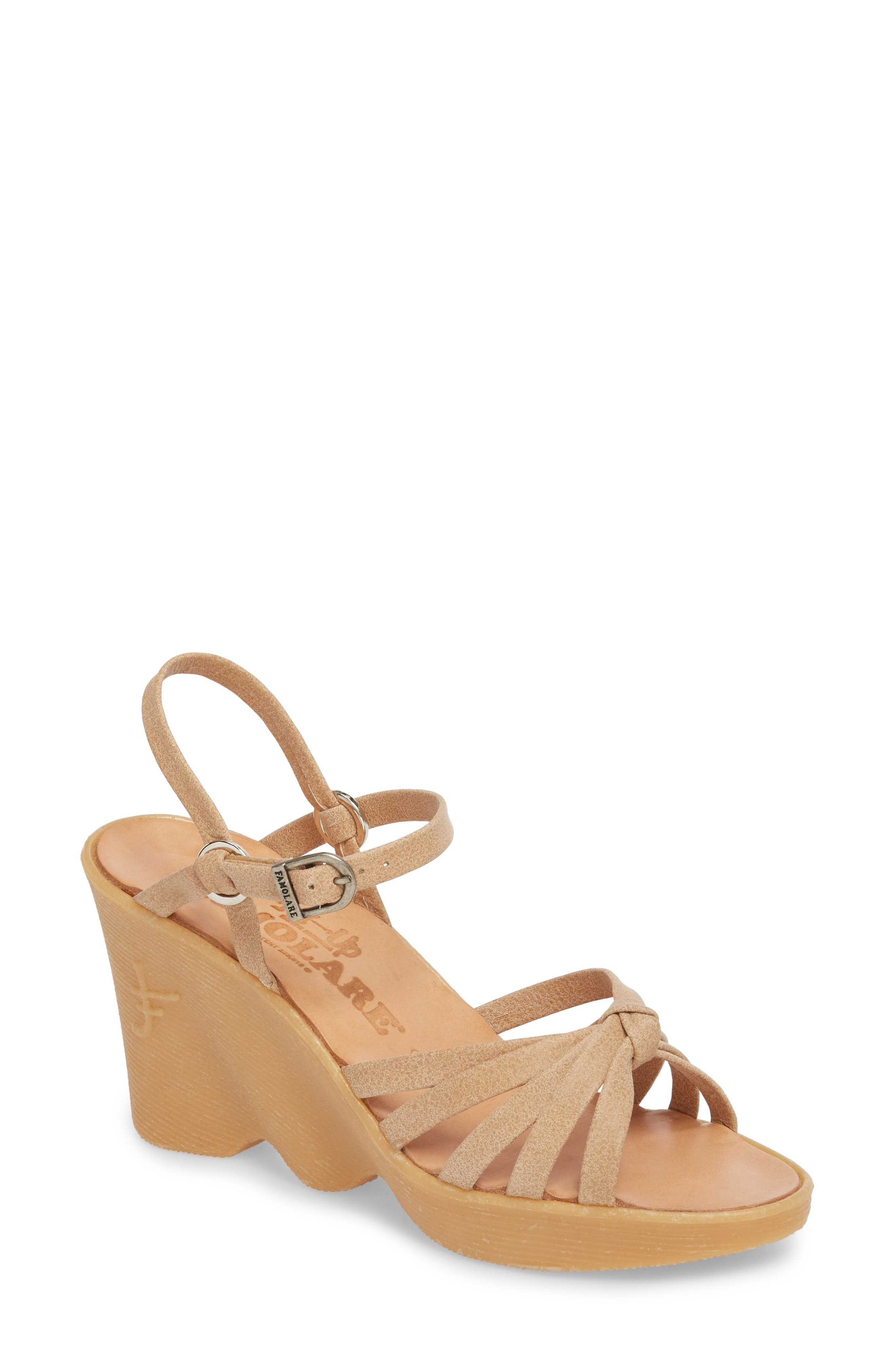 FAMOLARE,                             Knotty Monkey Wedge Sandal,                             Main thumbnail 1, color,                             NUDE LEATHER