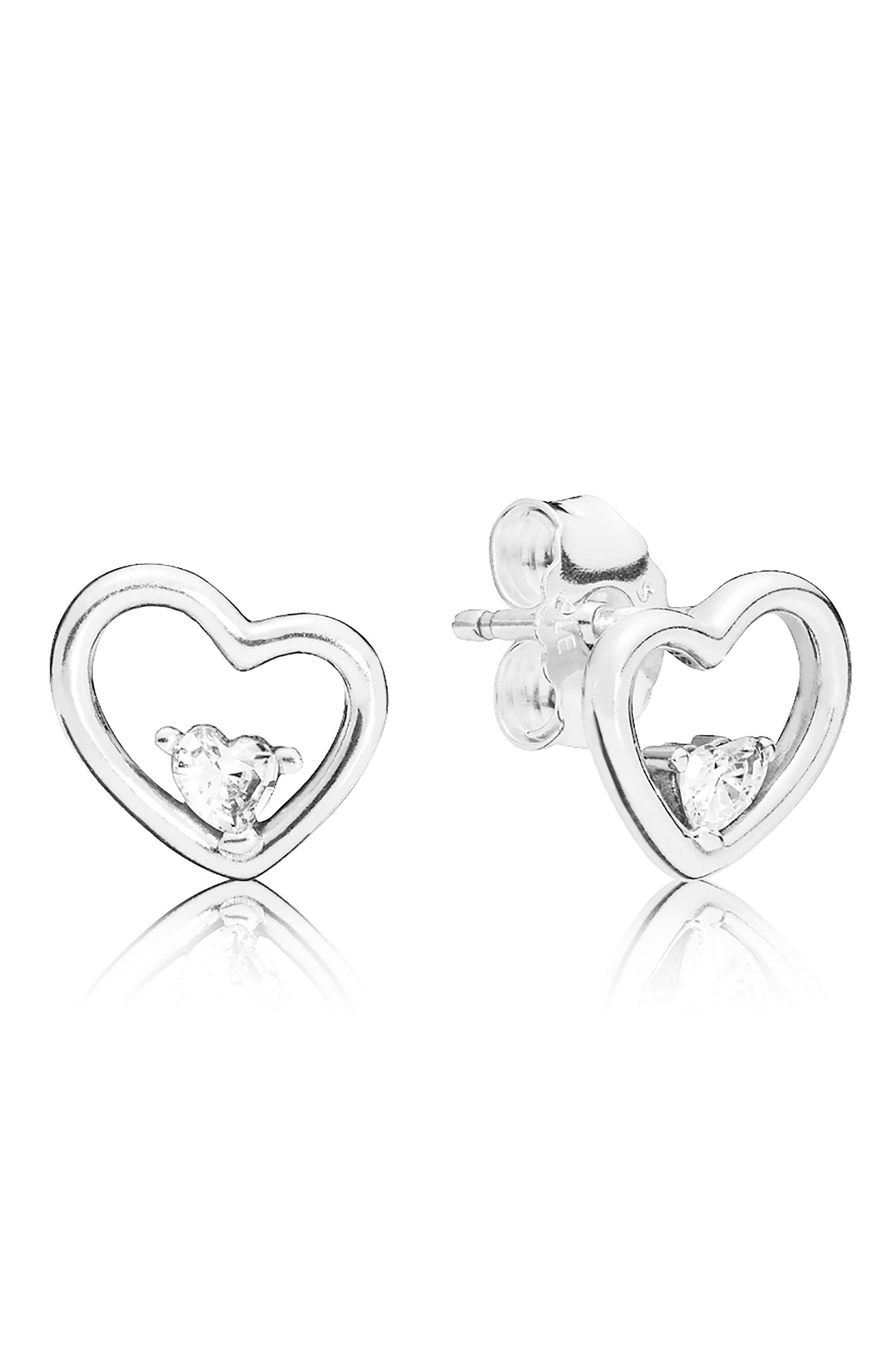 PANDORA,                             Asymmetrical Hearts of Love Stud Earrings,                             Main thumbnail 1, color,                             SILVER