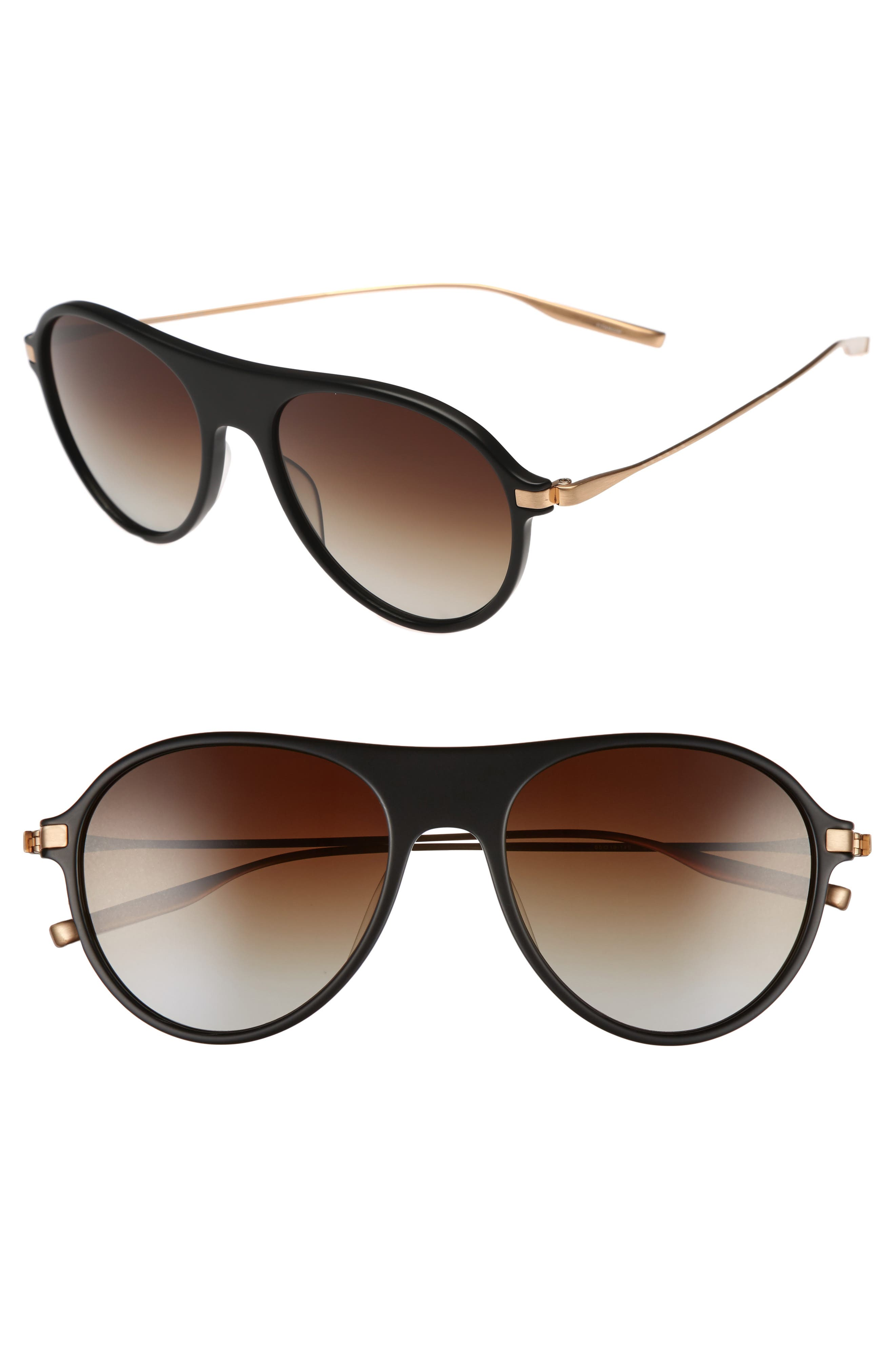St. Hubbins 55mm Polarized Sunglasses,                         Main,                         color, MATTE BLACK / BRUSHED HONEY